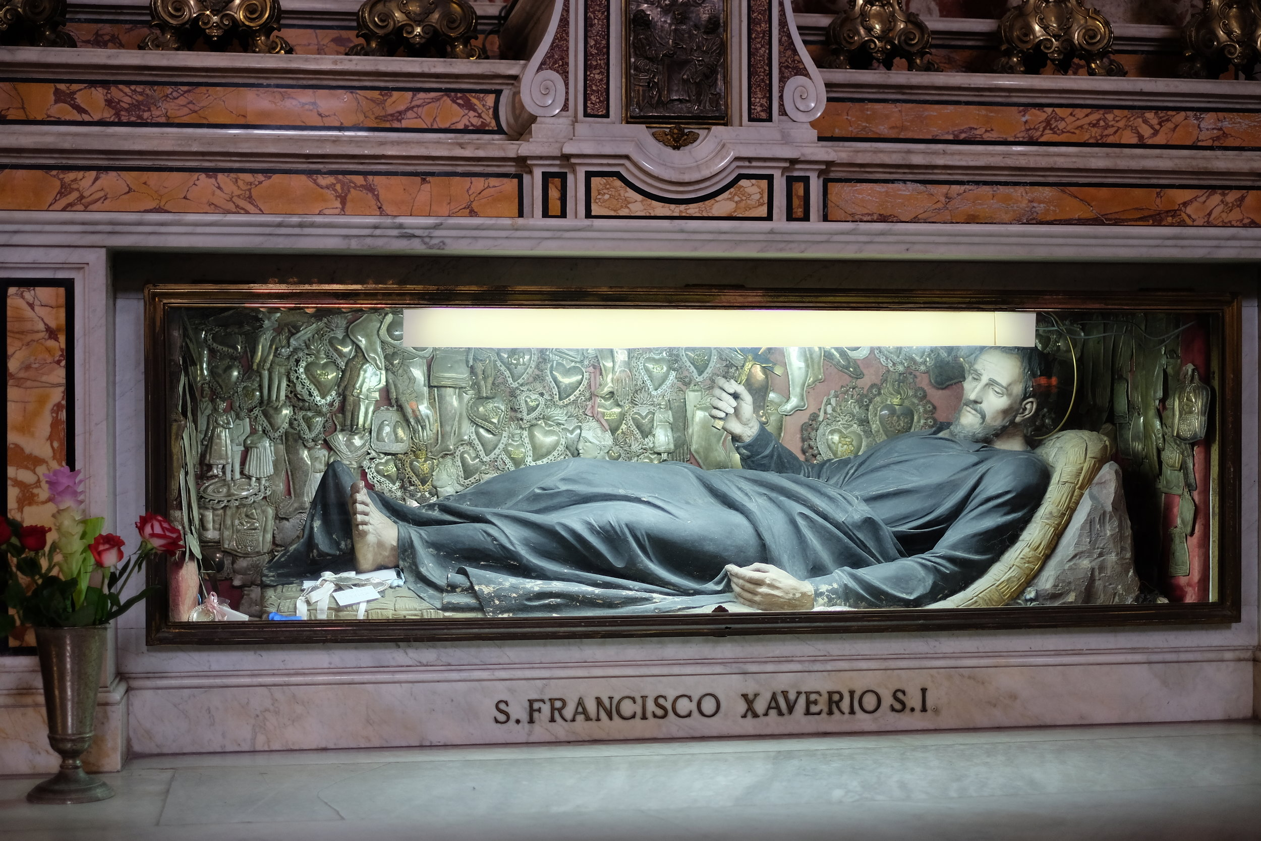 Ex-voto at the back of the glass case, offered to St. Francis Xaverio in the Gesú Nuovo Church.