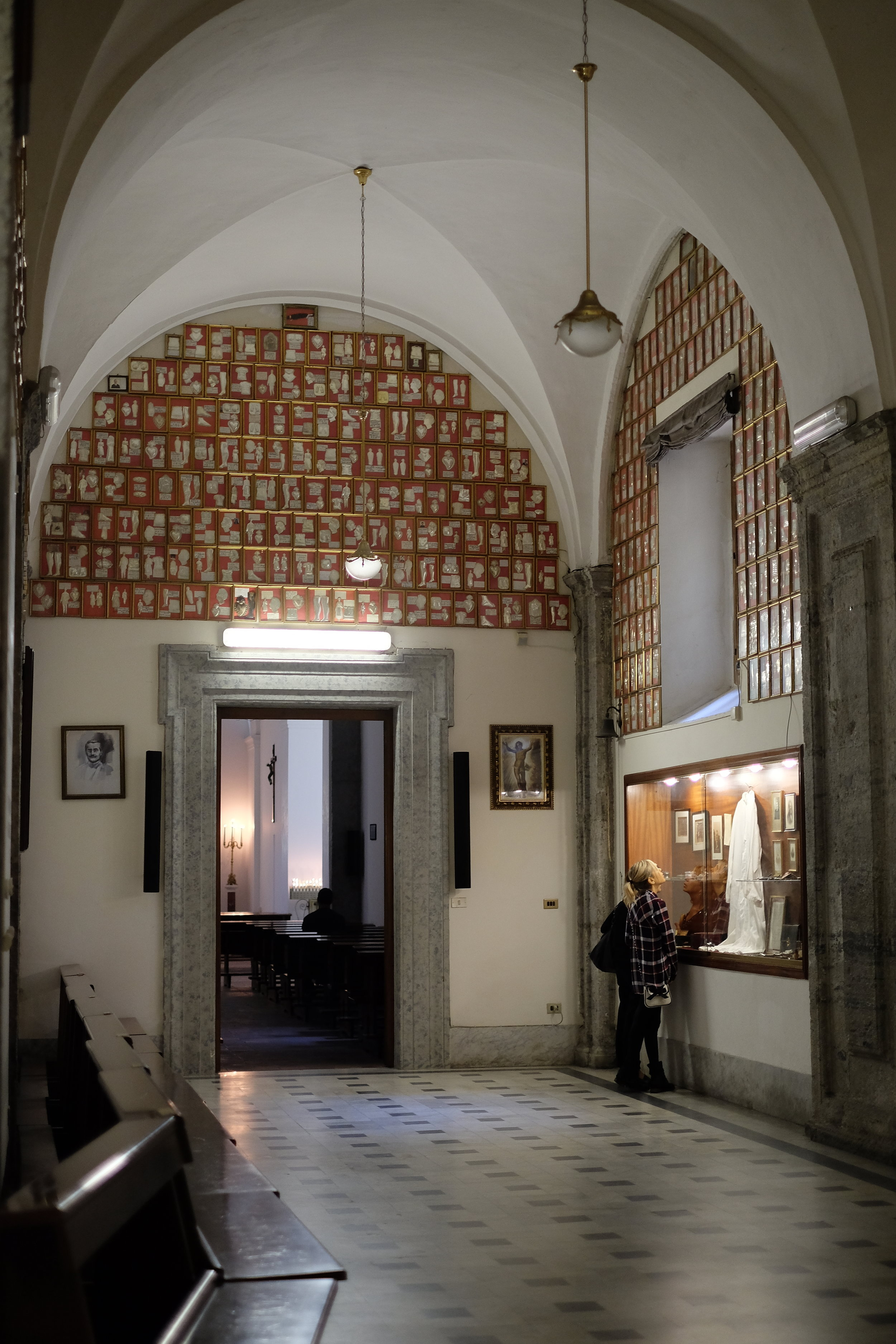 The collection of ex-voto in Gesú Nuovo Church.