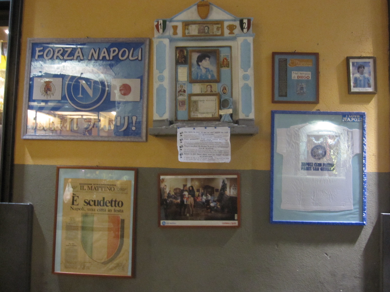 The aedicule dedicated to the football player Maradona, in the centro storico.