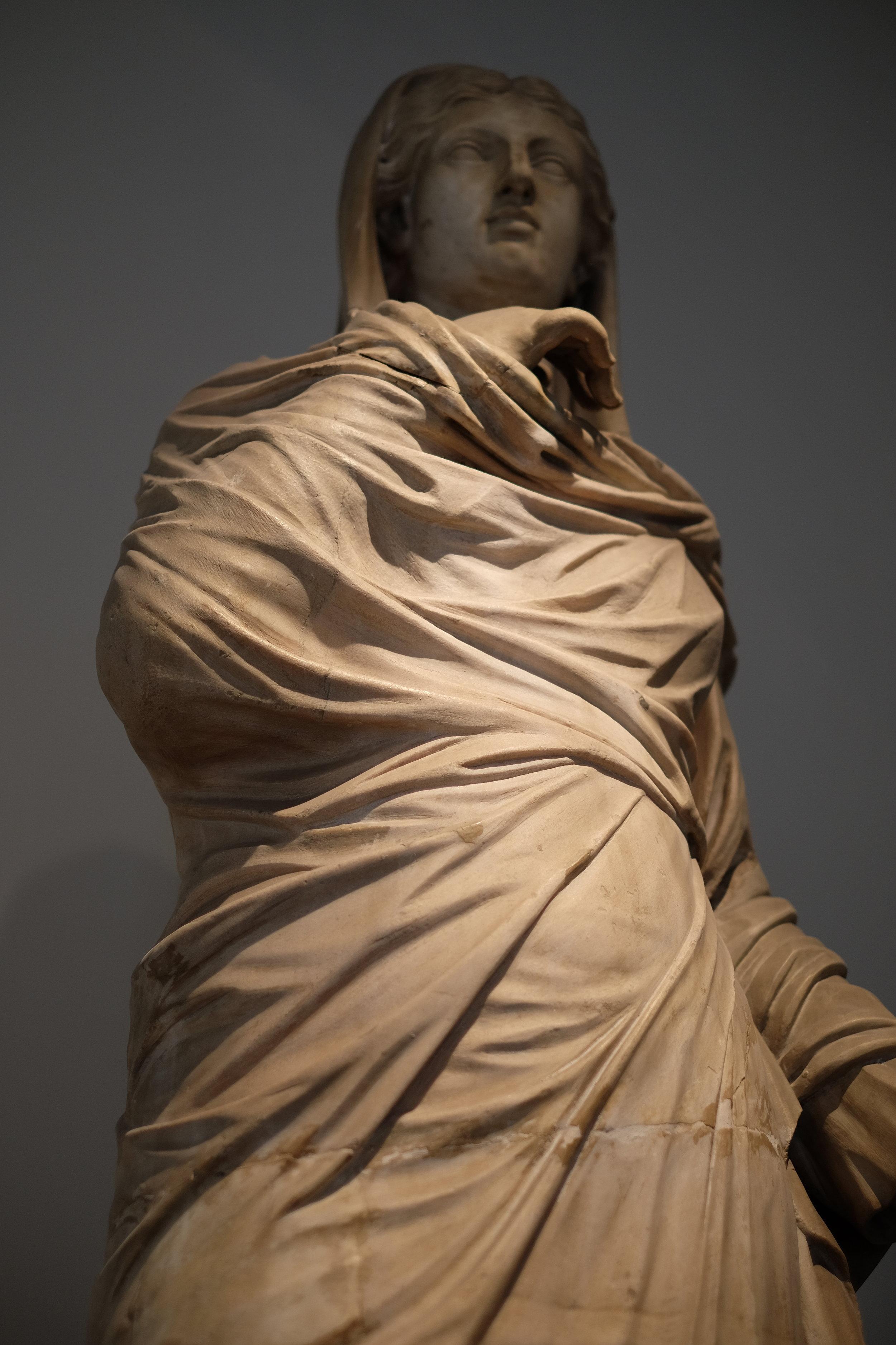 A statue found in the Villa dei Papiri.
