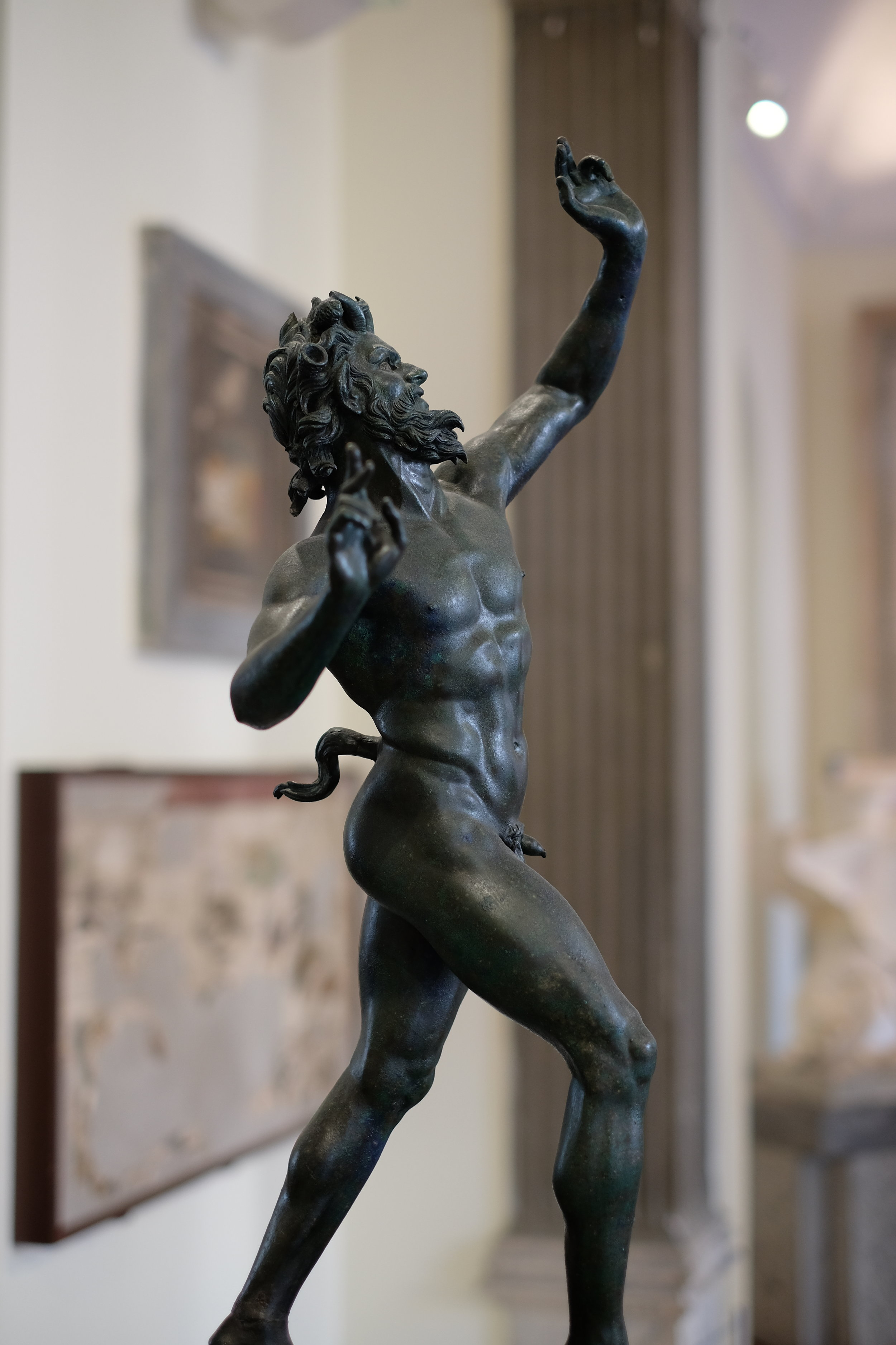 The original statue of the Faun from Pompeii, on the first floor.
