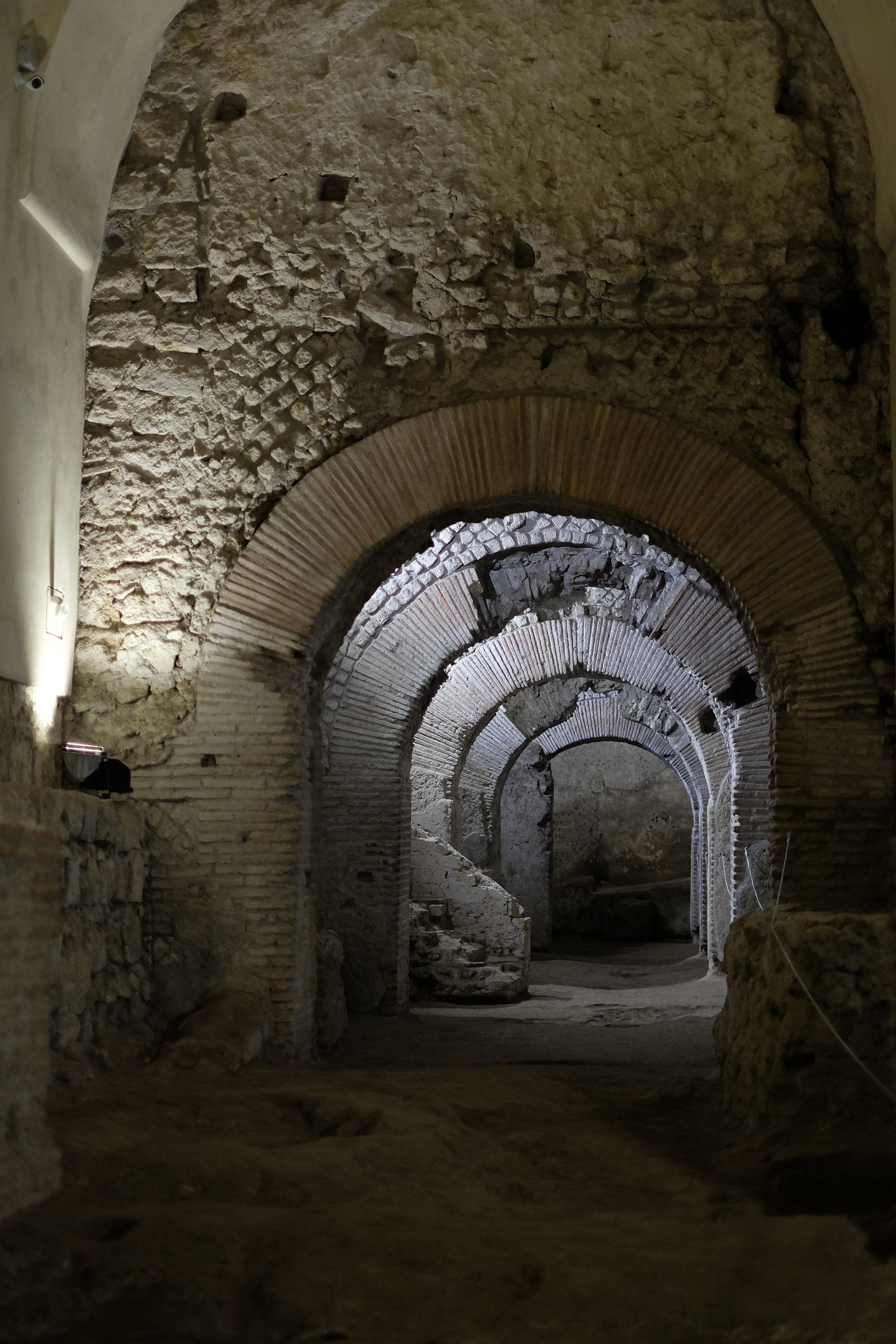 Roman road underneath the church.