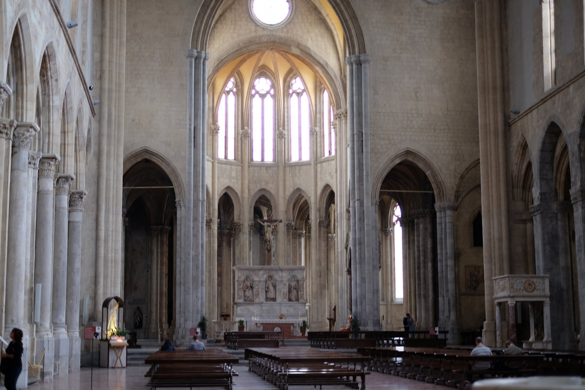 Gothic interior of the church.