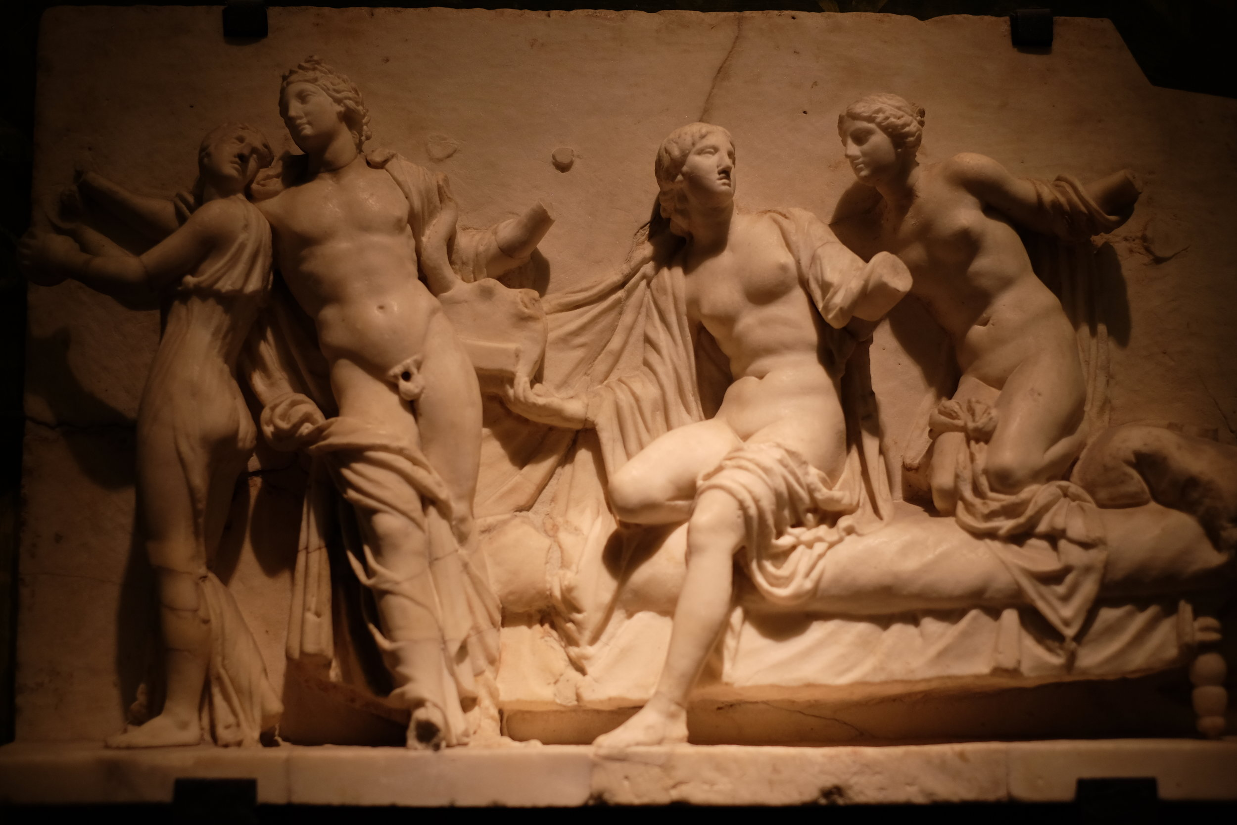 A marble relief in the Secret Cabinet.