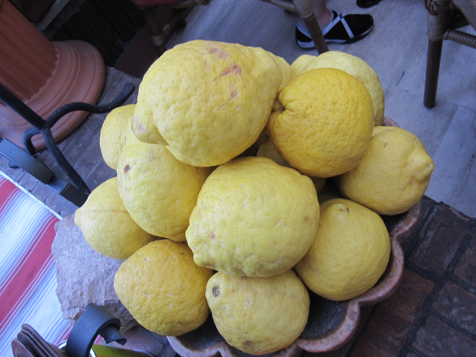 One of the typical products of the Amalfi coast: the giant lemons.  And what a smell!