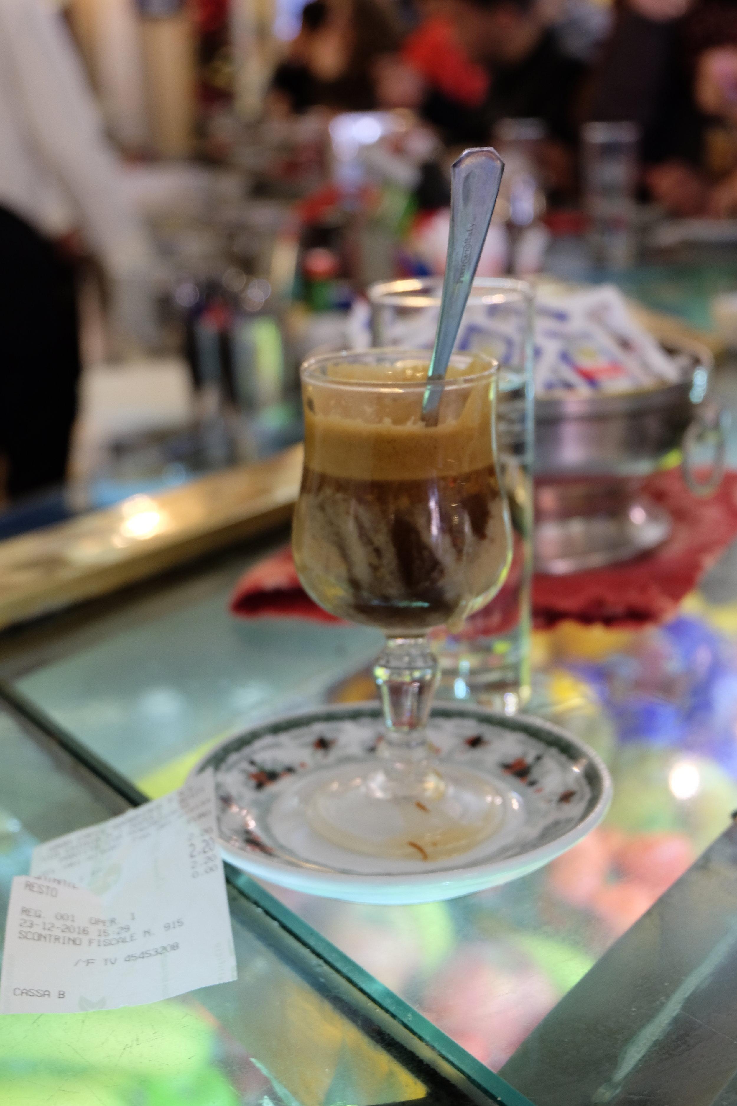 My favourite: caffè nocciolato (with hazelnut flavour).