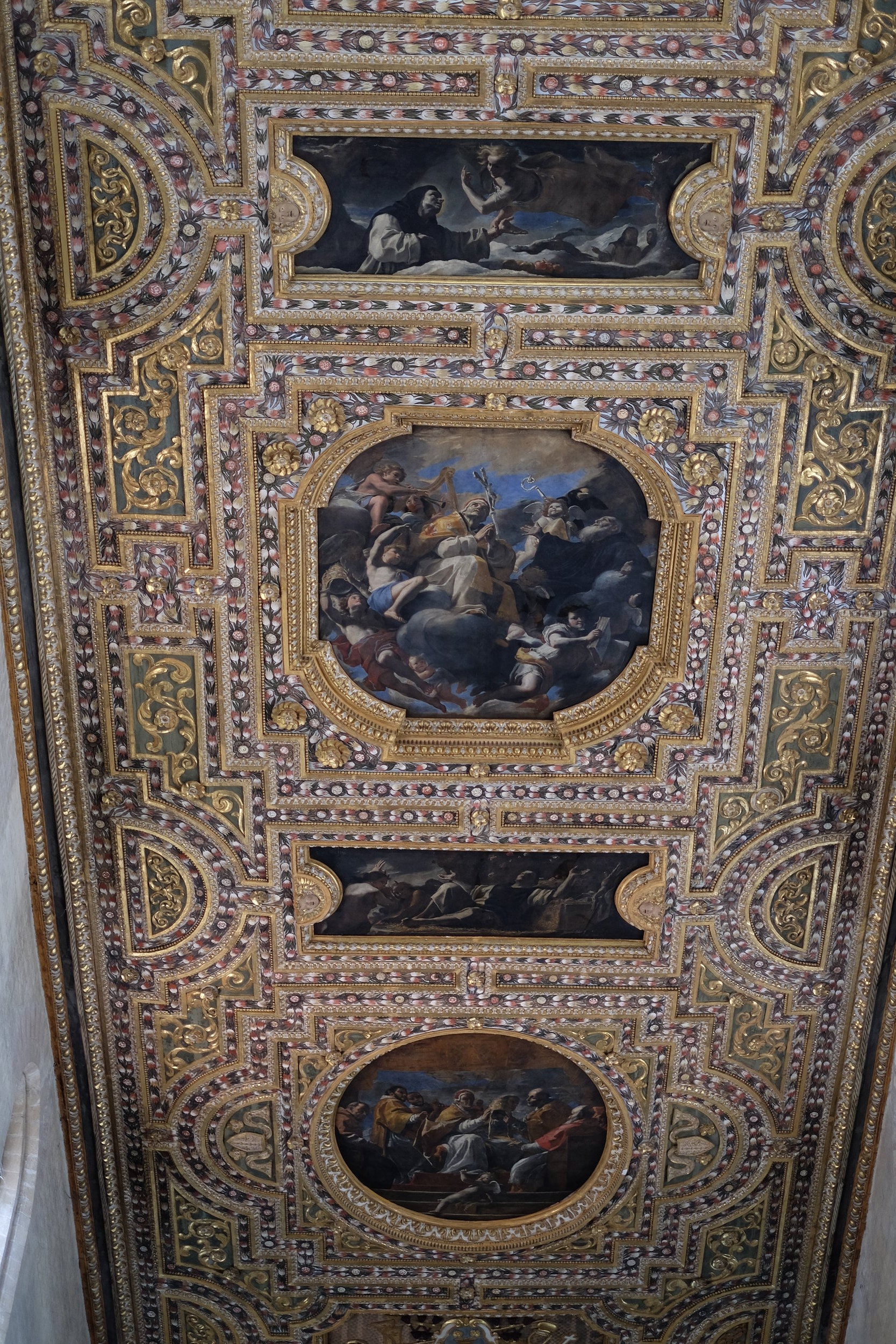 The Baroque ceiling of the church.