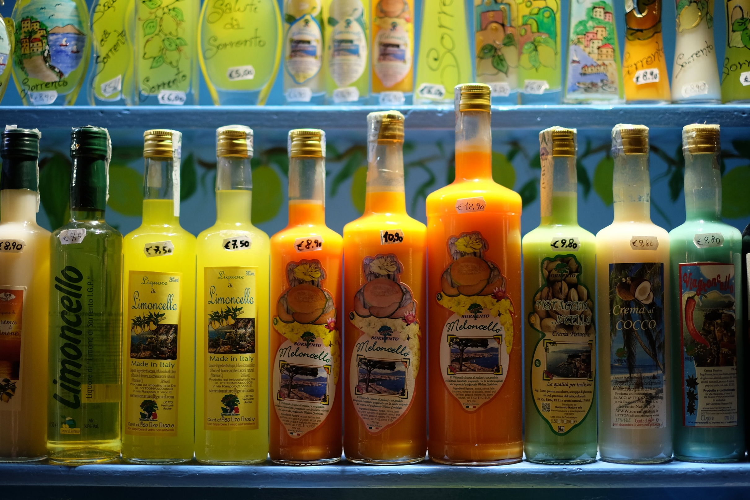The many different types of local liquers, made from lemon, melon, coconut and pistachio.