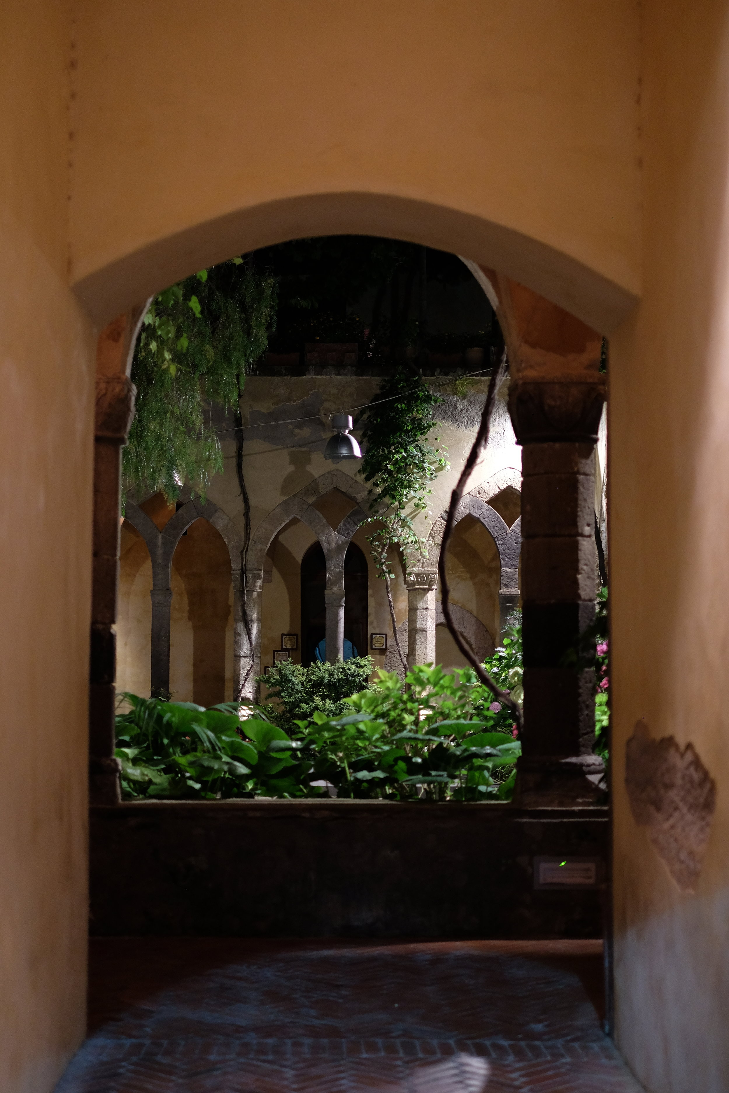 The romantic atmosphere of the cloister in San Francesco church.