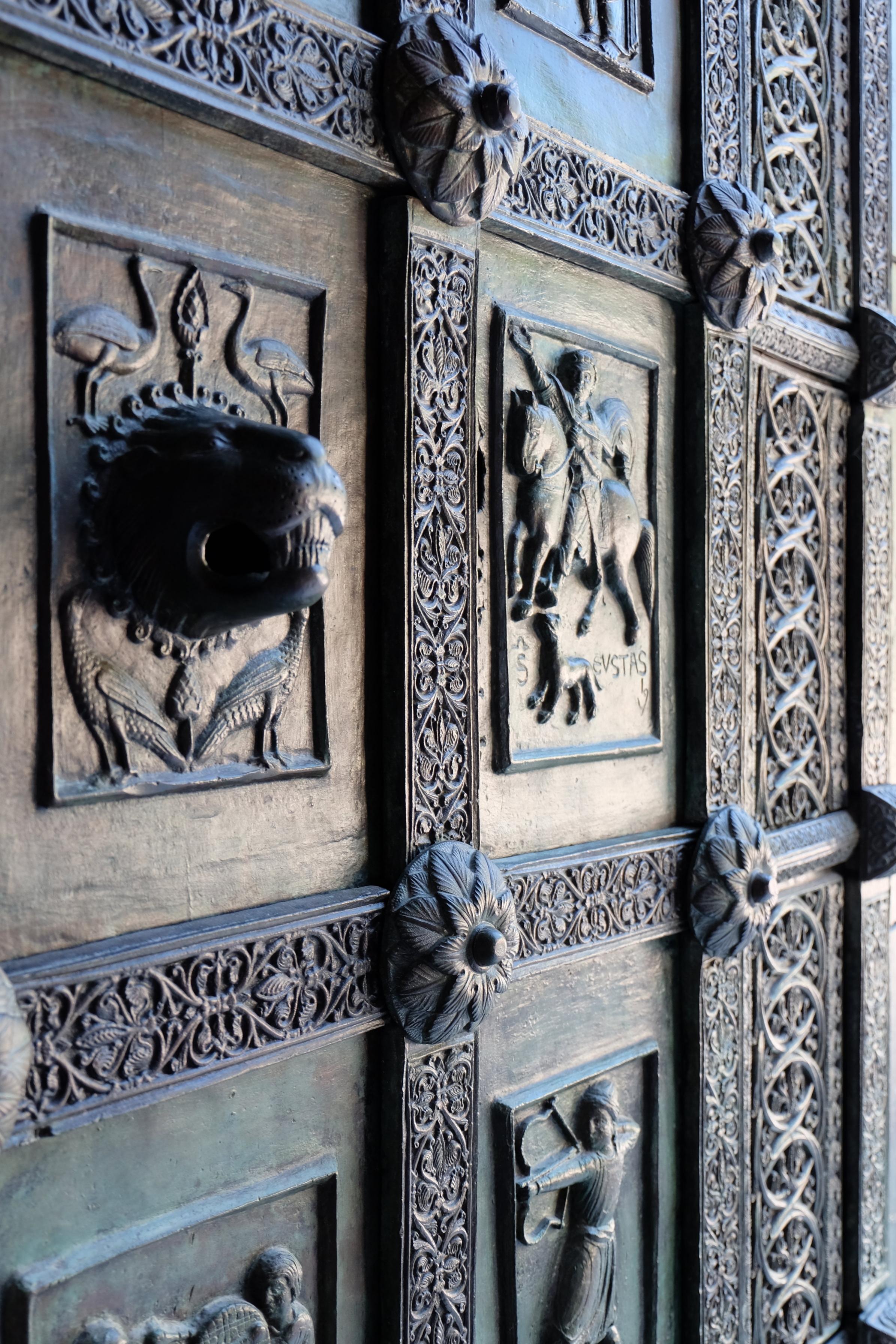Details of the bronze door dated 1179.