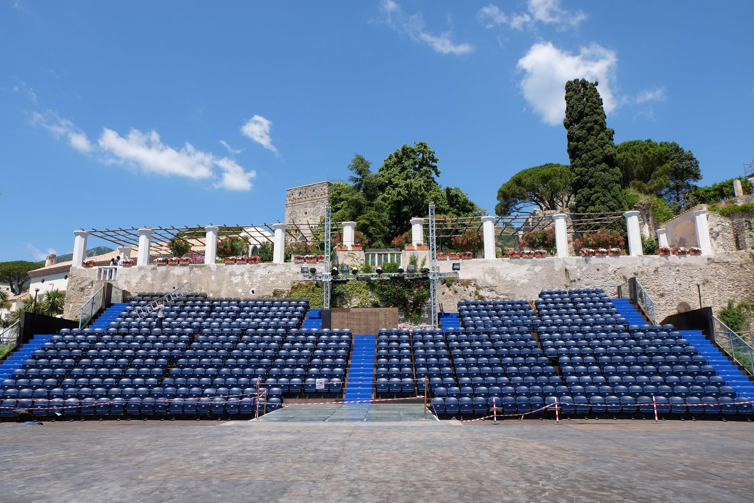 Open air stage seating area.