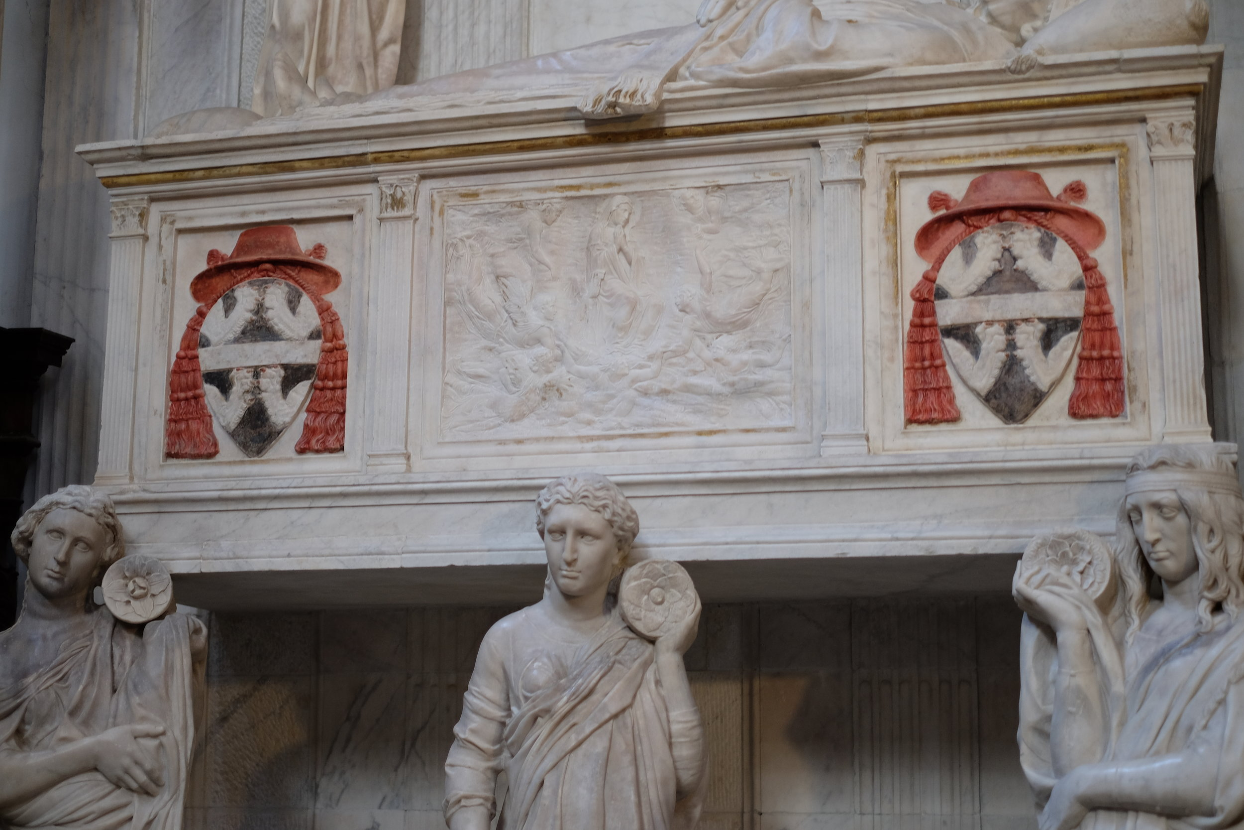 Details of the relief (at the centre) attributed to Donatello.