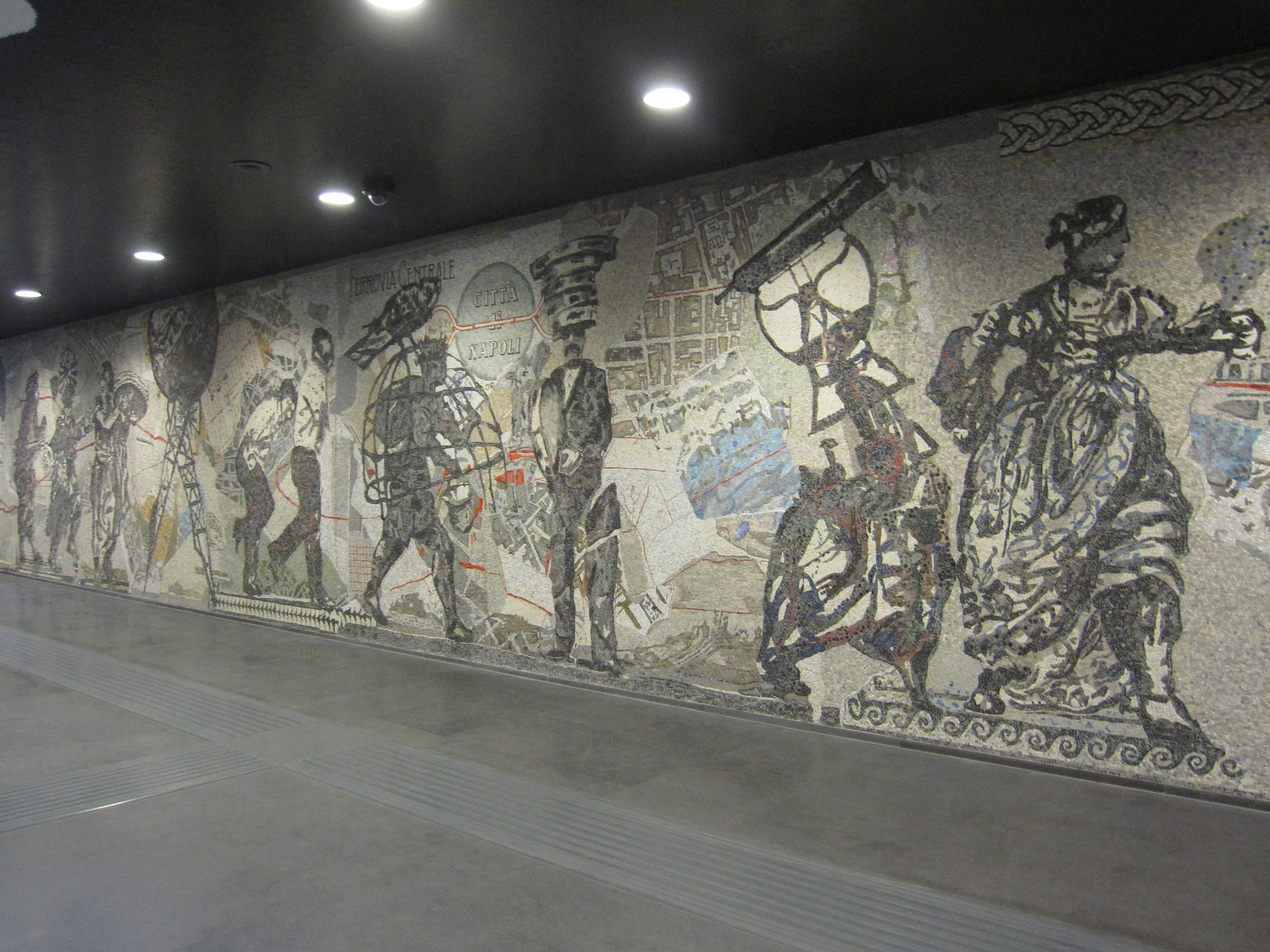 The mosaic ' Naples Procession'  by William Kentridge at Toledo station.