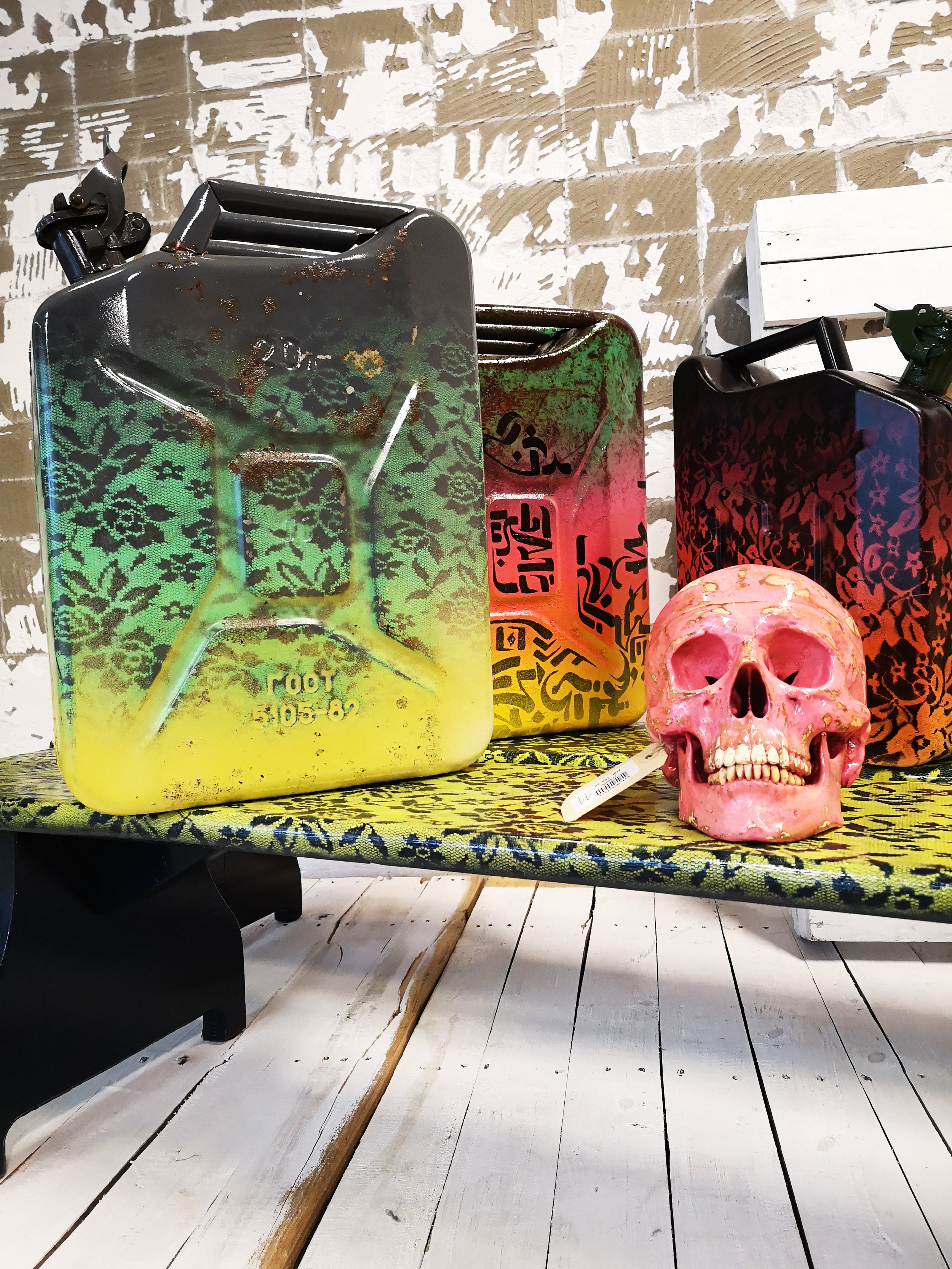 Jerrycans with pink skull