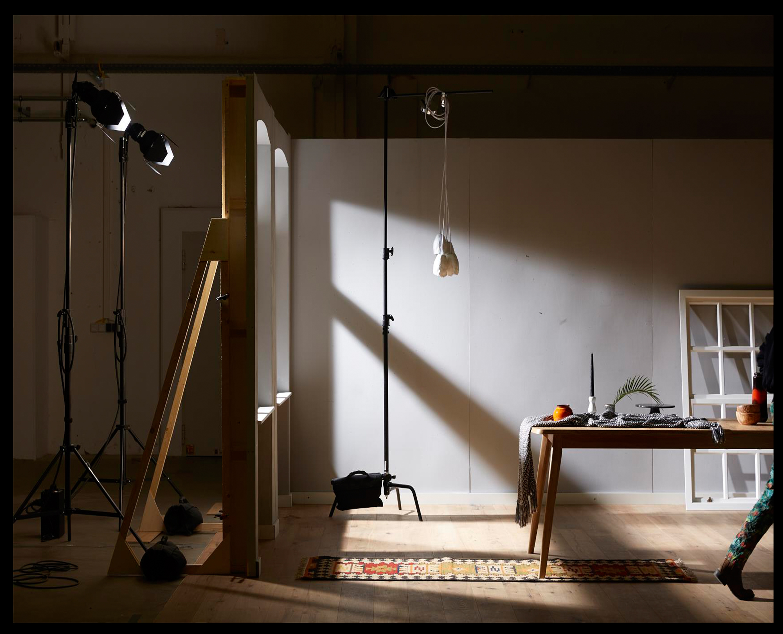 Behind the scenes in the photo studio.