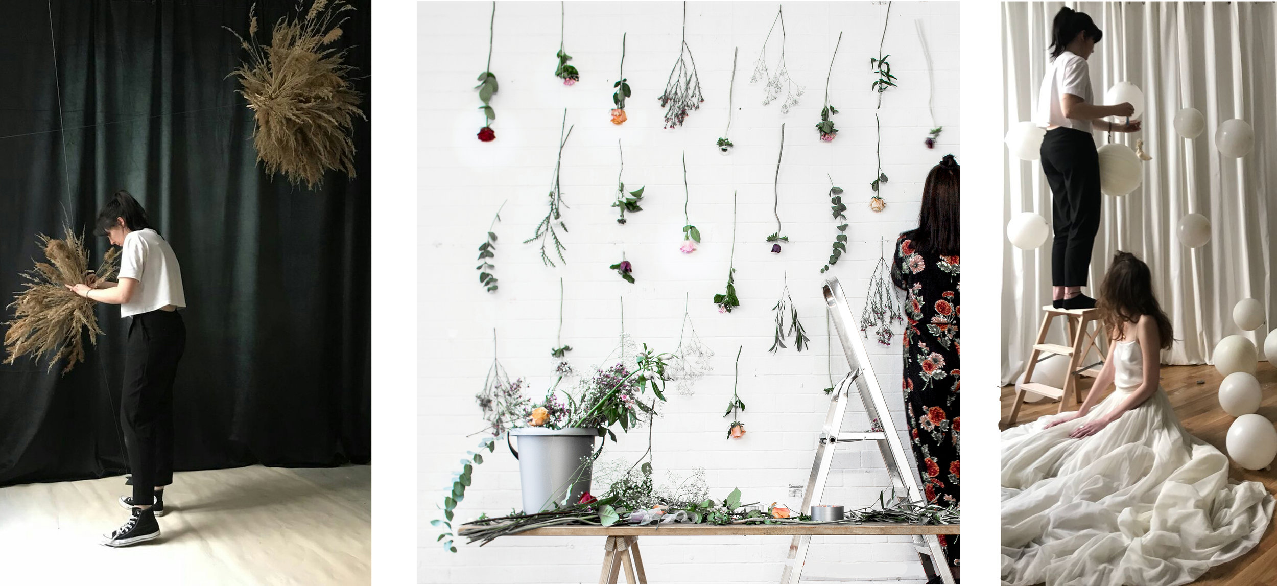 Set designer at work in Berlin creating floral installation wall hangings and clouds for event design projects and sculptural designs for a bridal editorial shoot