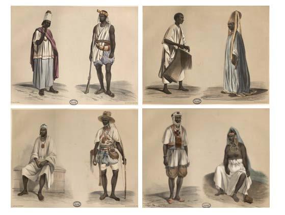 Illustrations of people in St. Louis, Waalo, Bondu and Gajaaga in Senegal taken from 1846 Voyage dans l'Afrique occidentale by Anne Raffenel.
