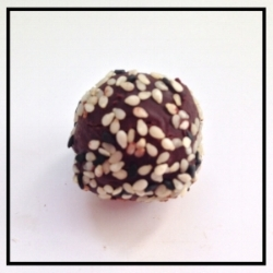 SESAME   Dark toasted sesame oil mixed with chocolate ganache, coated in toasted sesame seeds
