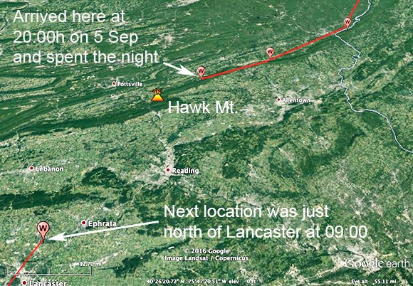 Map of Wausau's recorded GPS tracking signals, showing he might have followed the ridge down to Hawk Mountain before eventually turning south towards Lancaster.