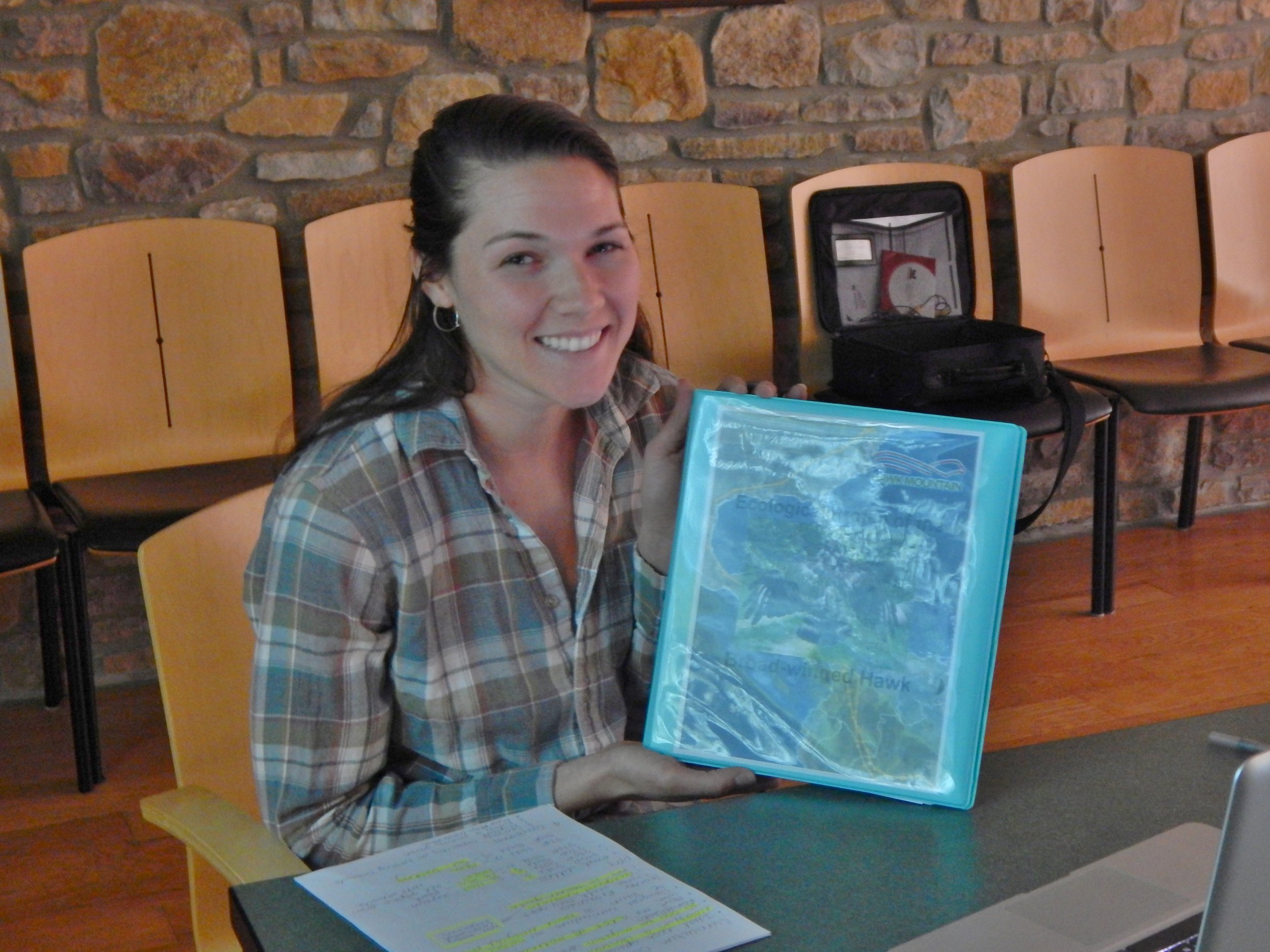 Kirsten with her Broadwing Curriculum, right before presenting it to the Hawk Mountain staff.