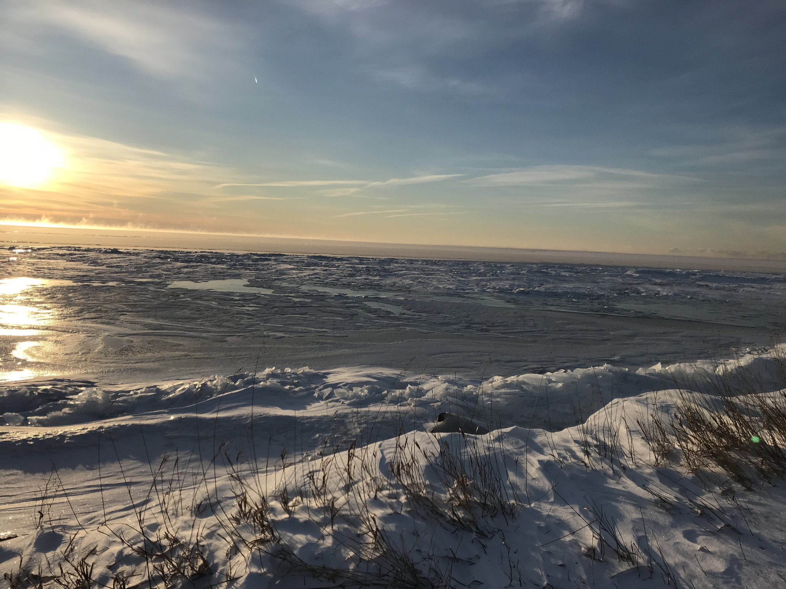 The sun rises over the frozen Lake Ontario.