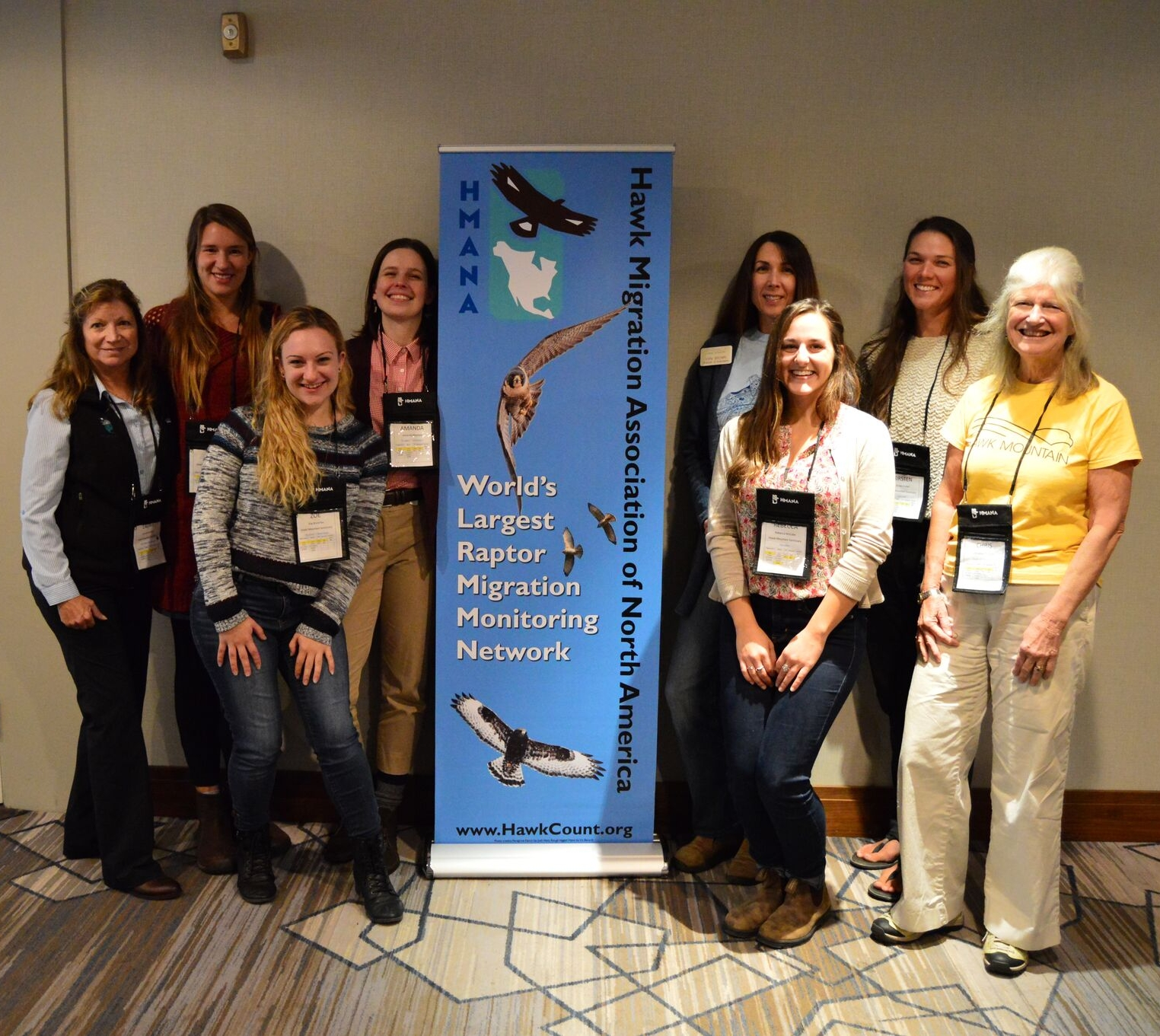 Zoe (front left) joined by fellow Hawk Mountain staff, trainees, and board at the HMANA 2018 Conference.