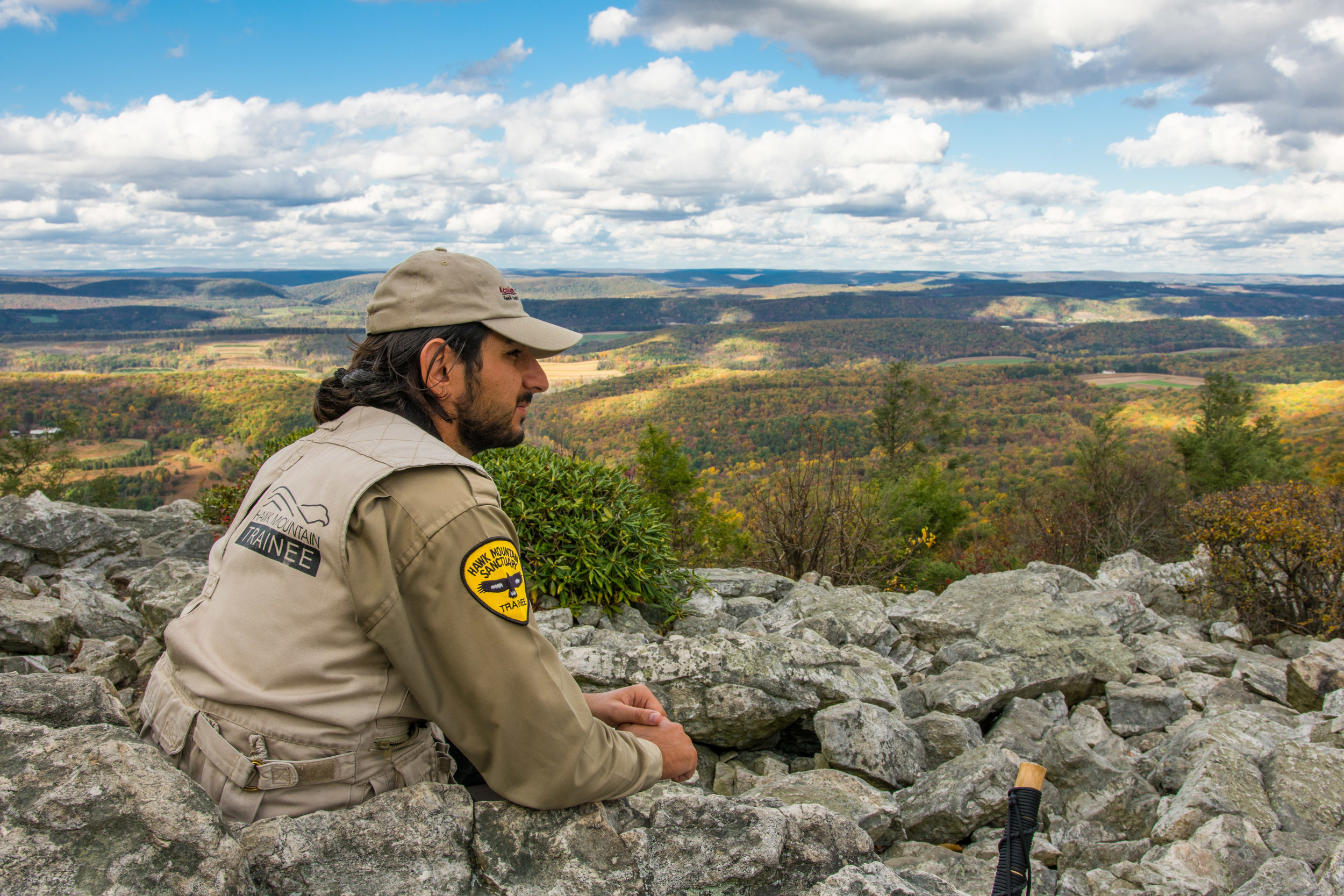 Levon stationed atop Hawk Mountain's North Lookout during fall migration.