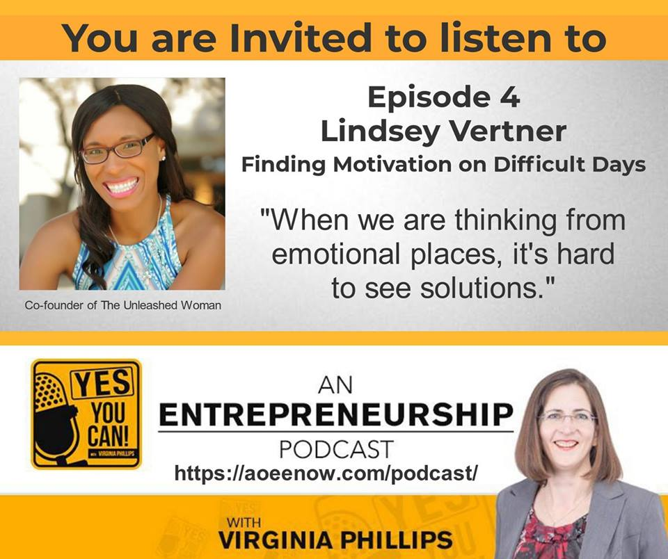 Lindsey Vertner was a guest on the Yes You Can podcast with Virginia Phillips.