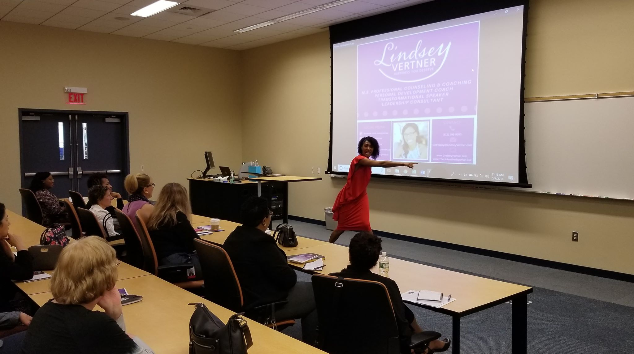 Lindsey Vertner speaking at the Women In Business Summit in Connecticut.