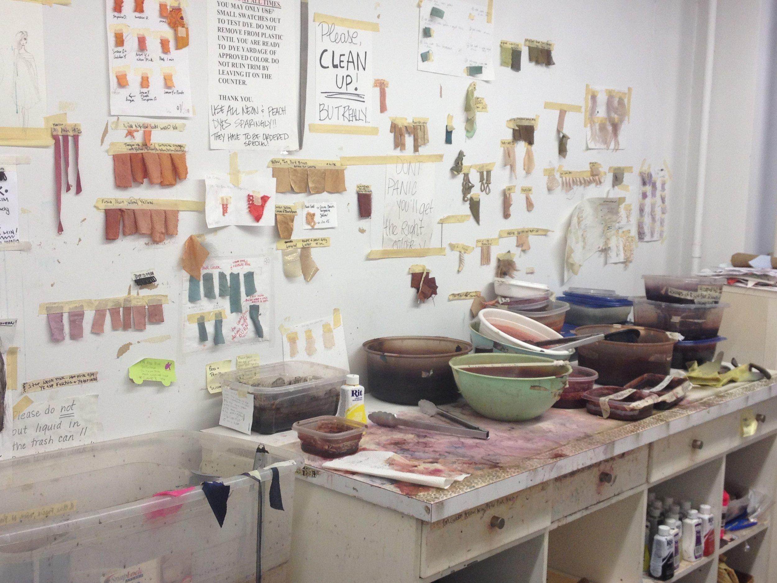 The dye shop in  Nanette Lepore's  NYC design studio