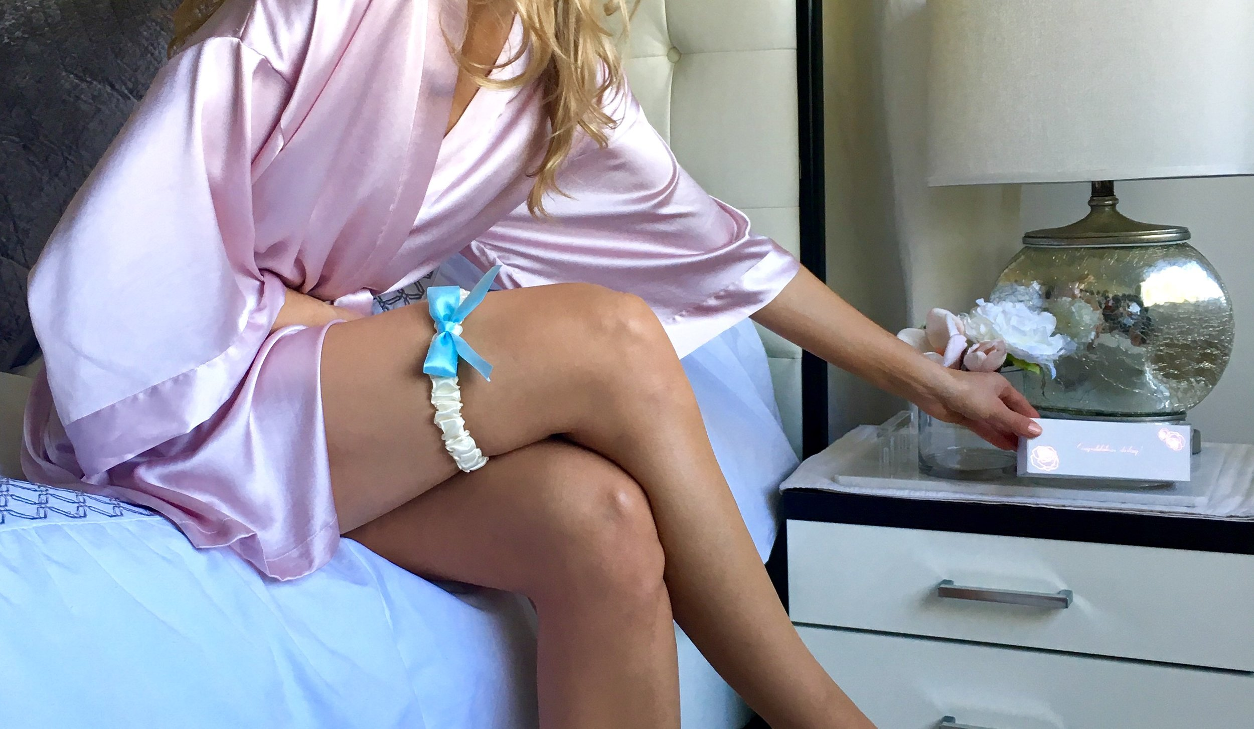 "Bleu Garters  Macaron wedding garter , worn about 6"" above the knee."