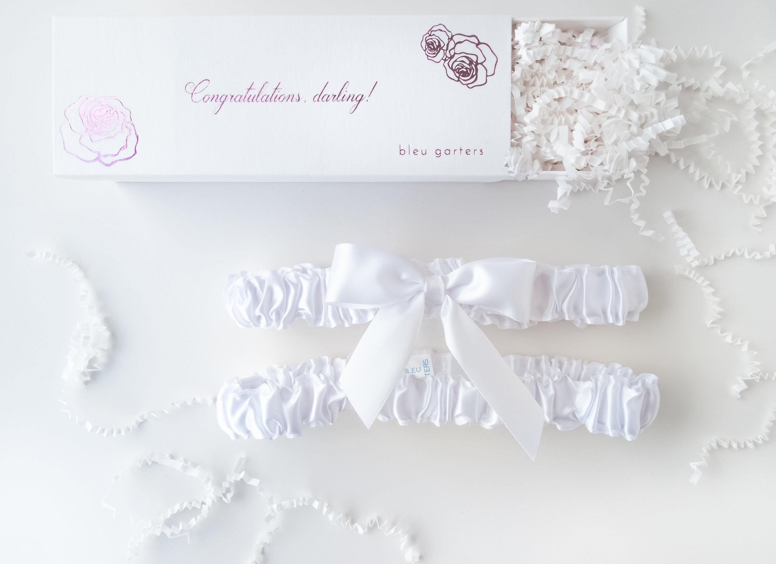 White garter for bride wedding by Bleu Garters