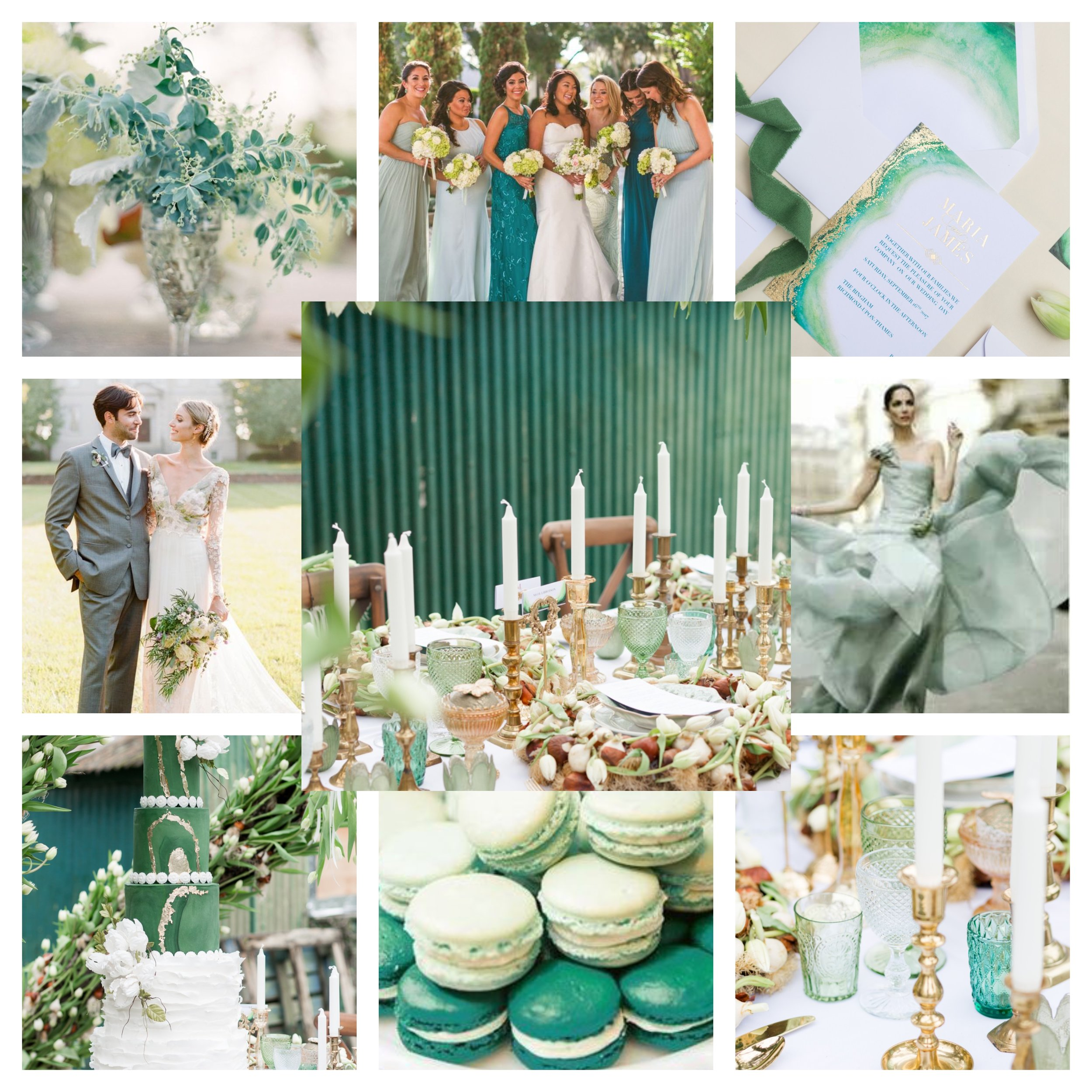 Spring 2019 Teal, Sage, Mint, Ivory Wedding Colors