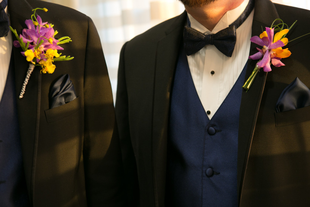 The tropical boutonnieres each had a unique look, but were created cohesively to compliment the event.