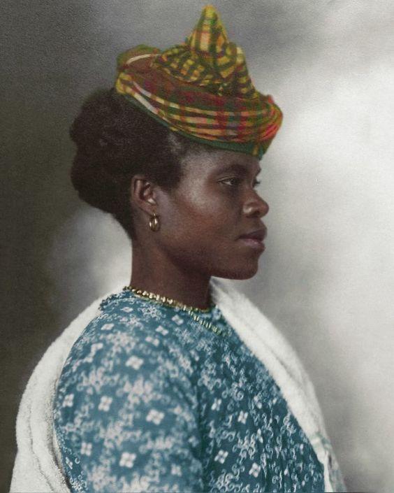 Coloured picture of a guadeloupean immigrant. Ellis Island 20th Century.