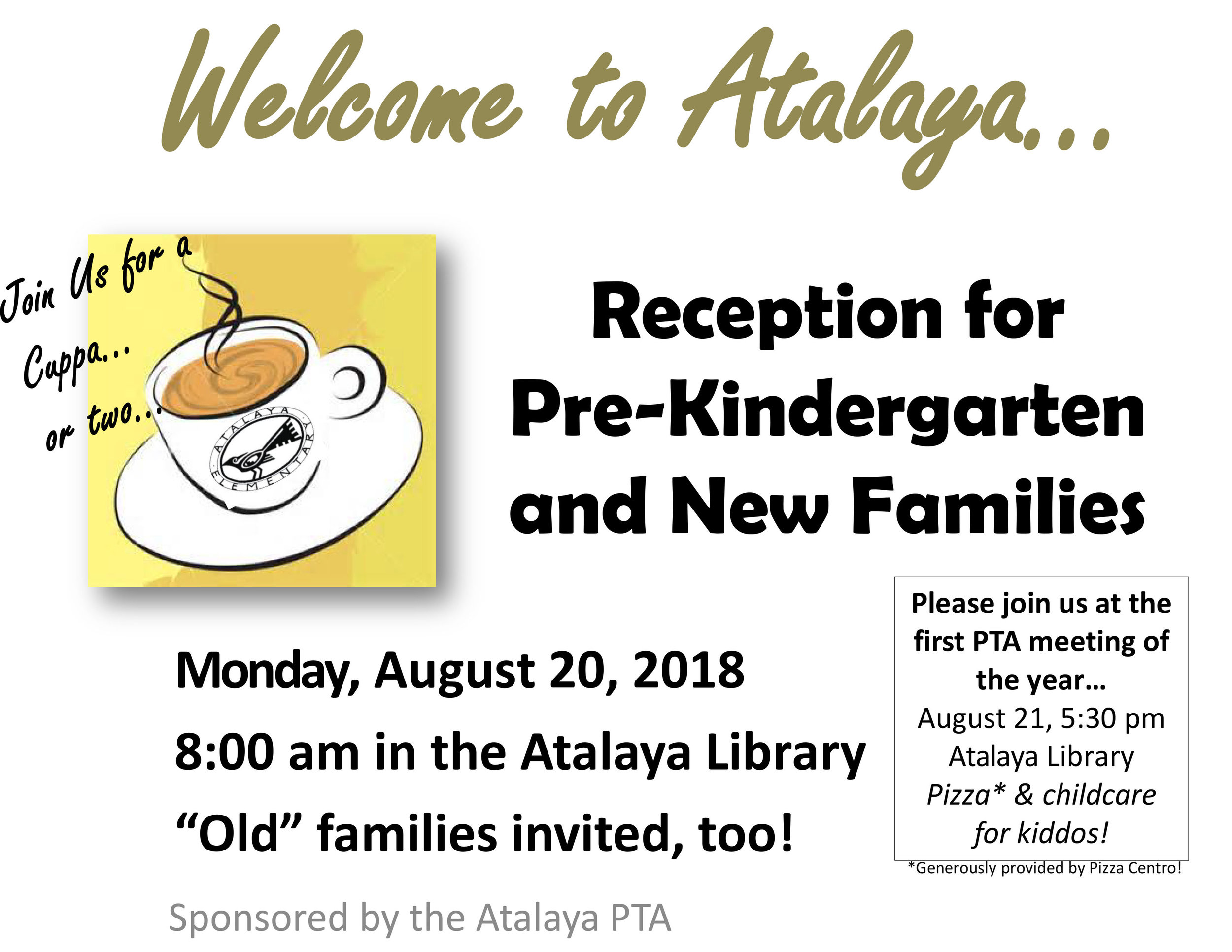 """New Family Welcome  – join the PTA and some """"old""""families in the Library for a cuppa coffee or tea after you see off your wee ones or not-so-wee ones."""