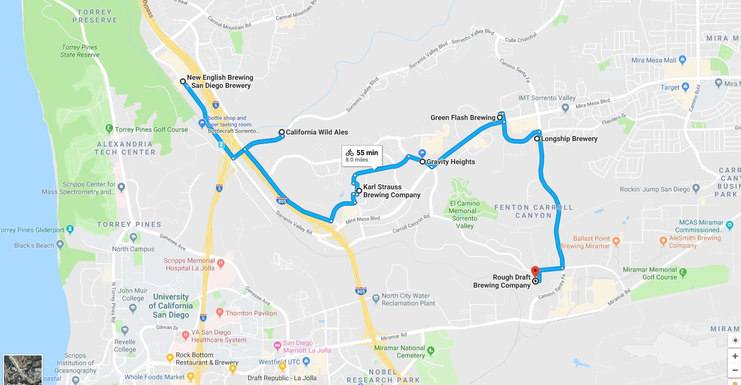 The most efficient route to hit all seven of Sorrento Valley's craft beer location.