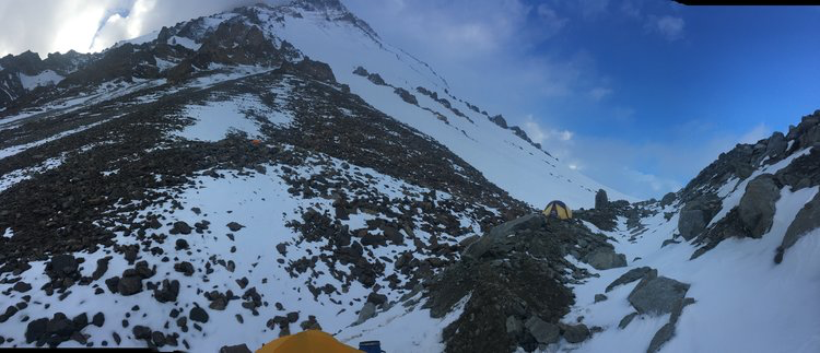 Advanced base camp and a view of the snowy route to camp 1