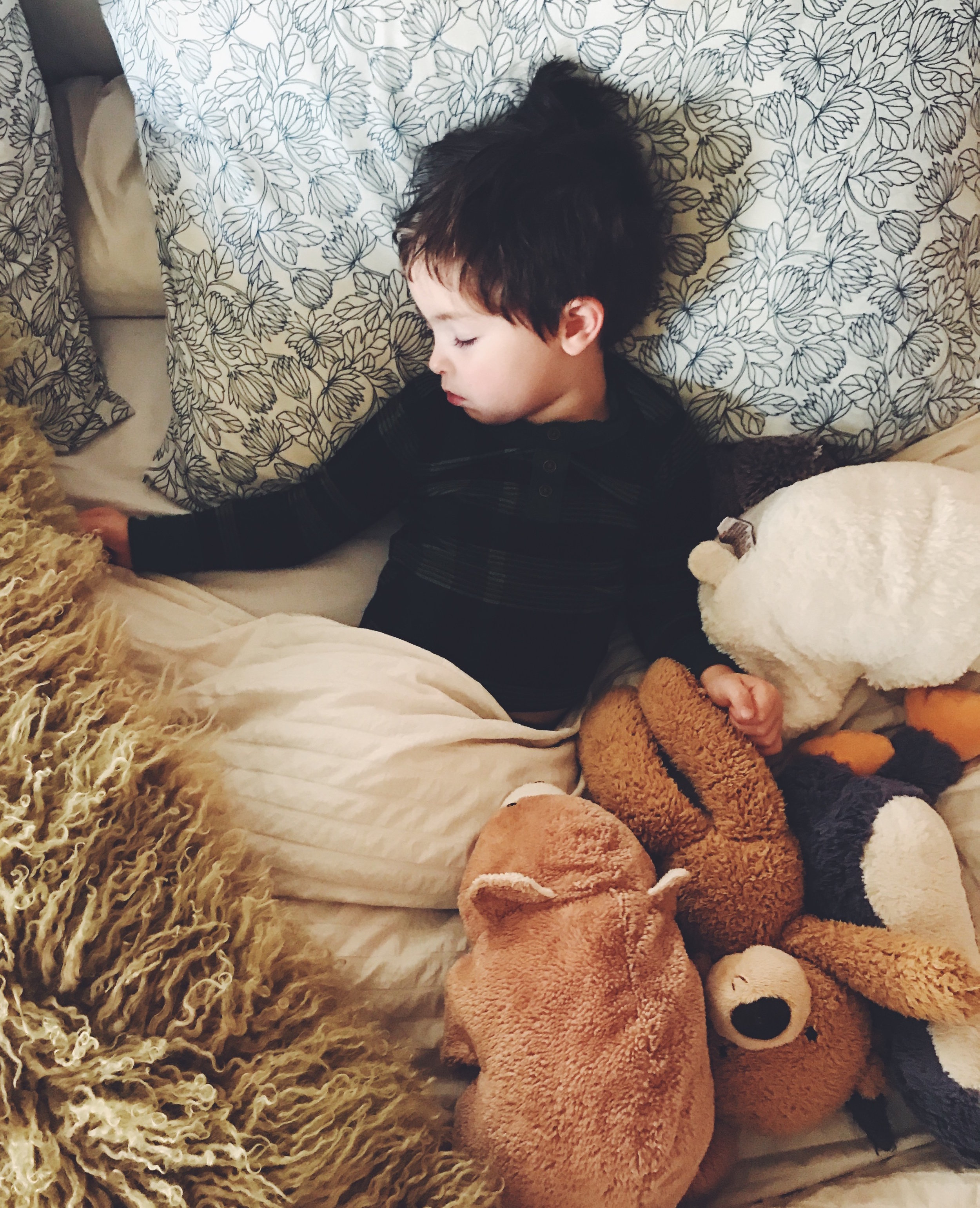 - lots of napping, lots of pj only days and lots of time spent in our bed with his four best friends.