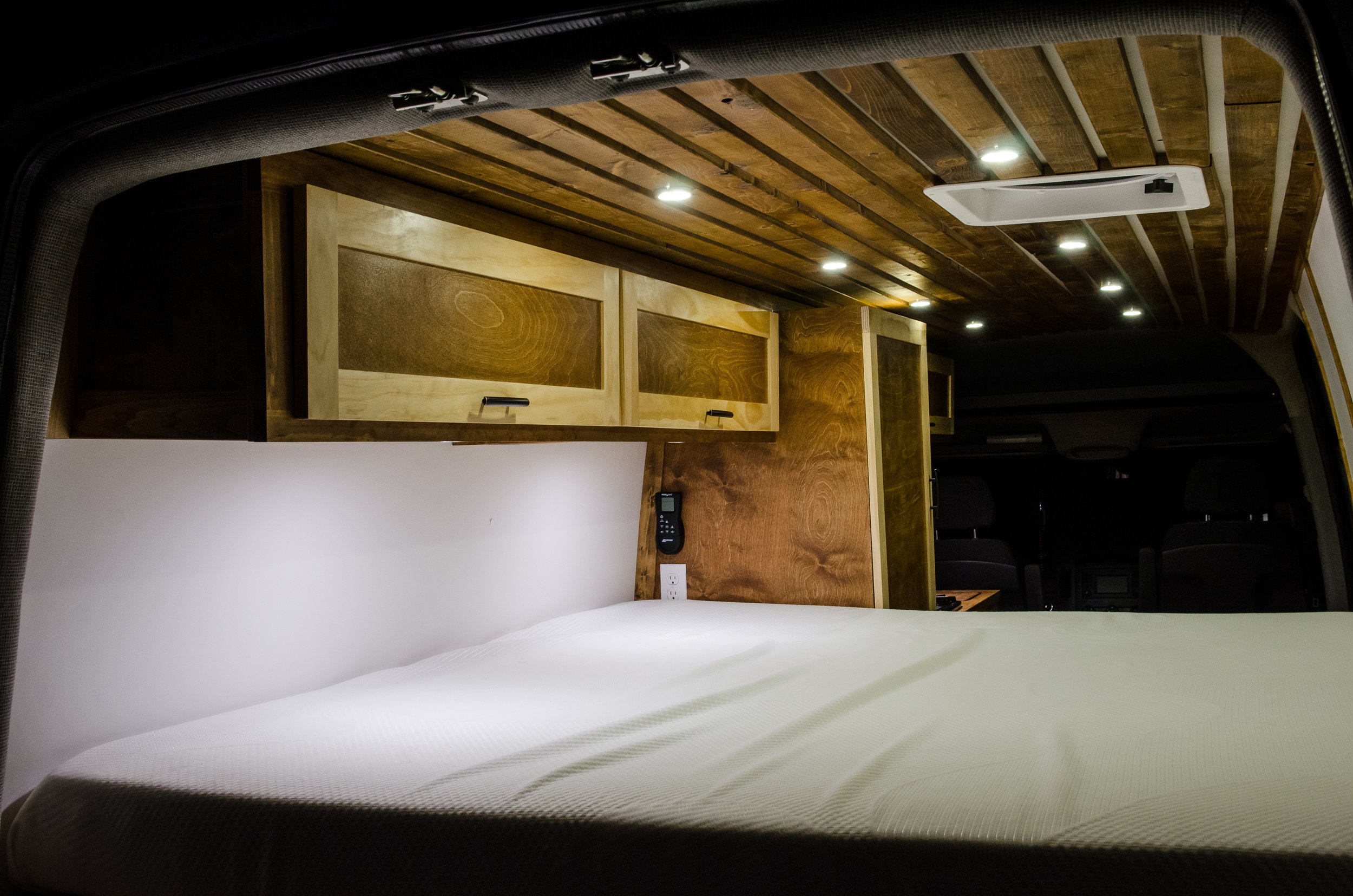 """This van features enough room for a queen size 6"""" memory foam mattress in the back."""