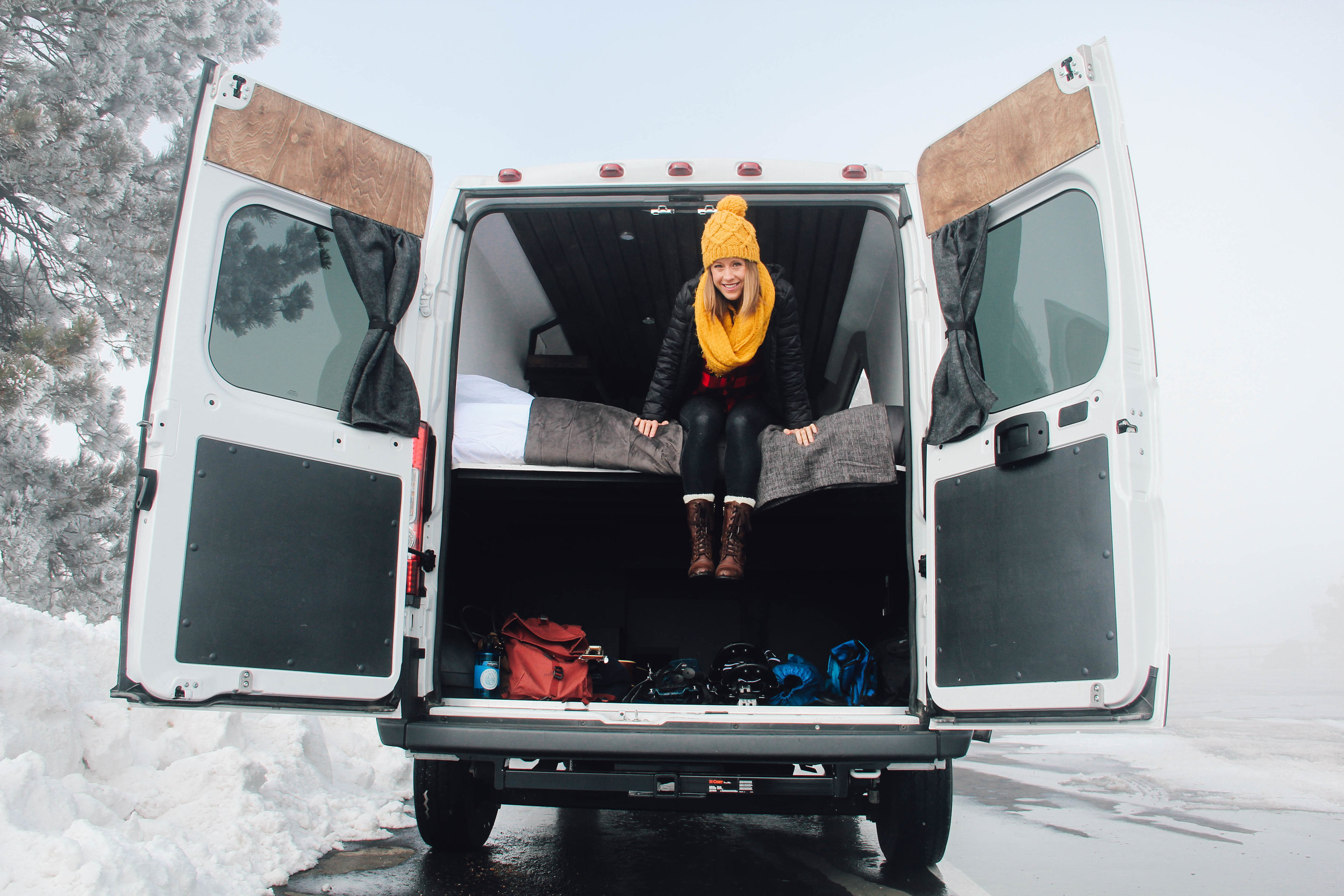 """The Summit: A 136"""" Dodge Promaster high top built for Native Campervans. This weekend warrior for two was designed to be stylish, comfortable, and easy to drive."""