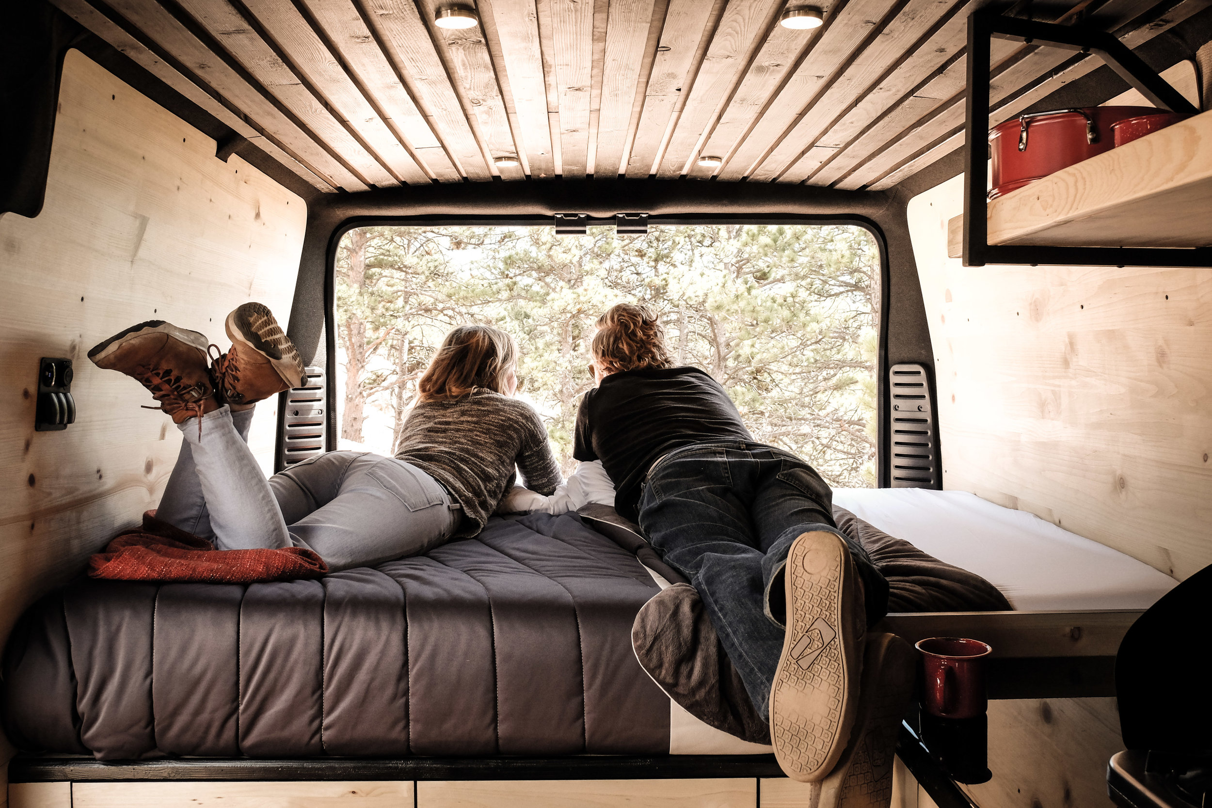 A memory foam mattress easily sleeps two.  It also comes with a view.