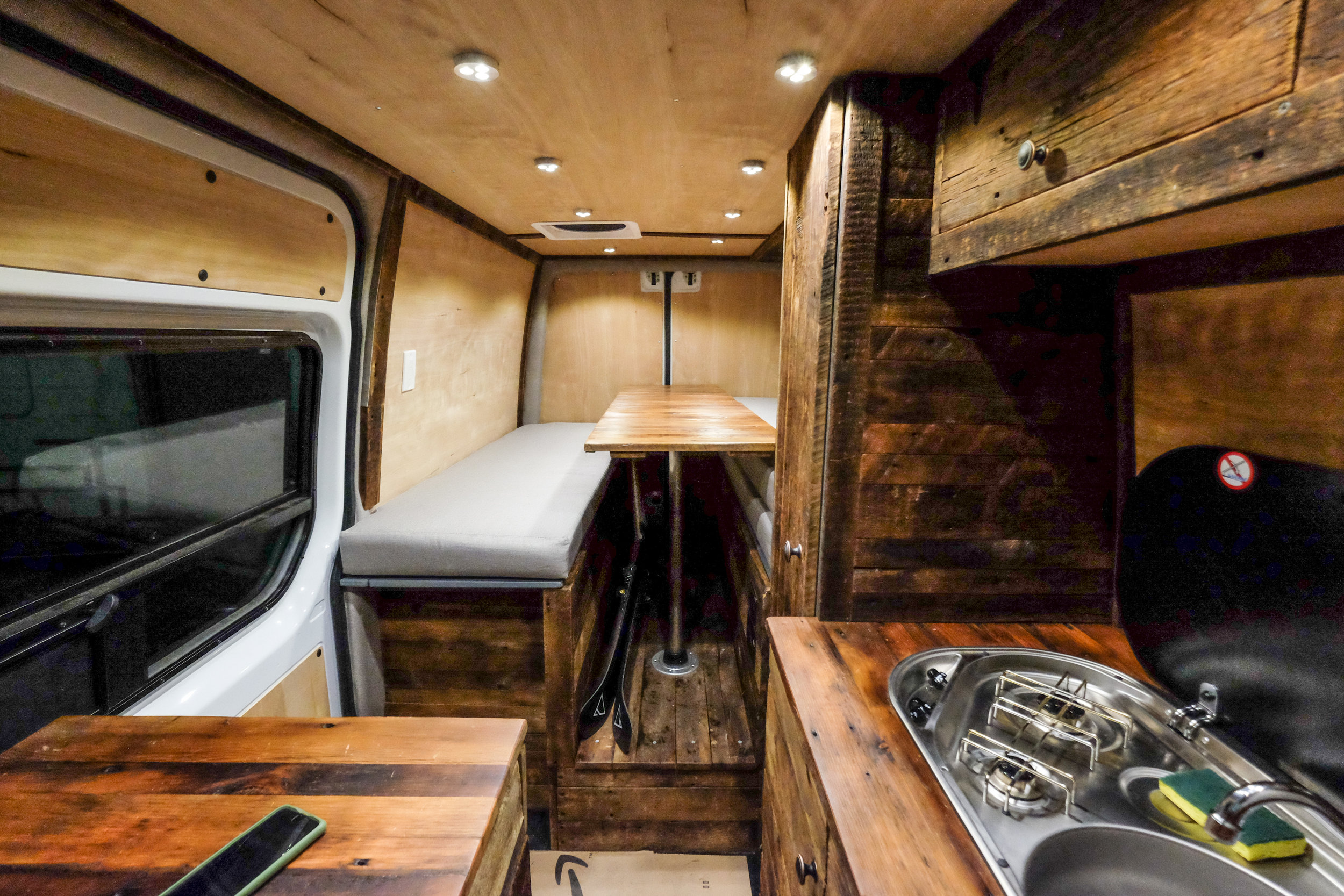"The SkiHaus - a custom built 144"" Sprinter designed for rugged winter adventures."