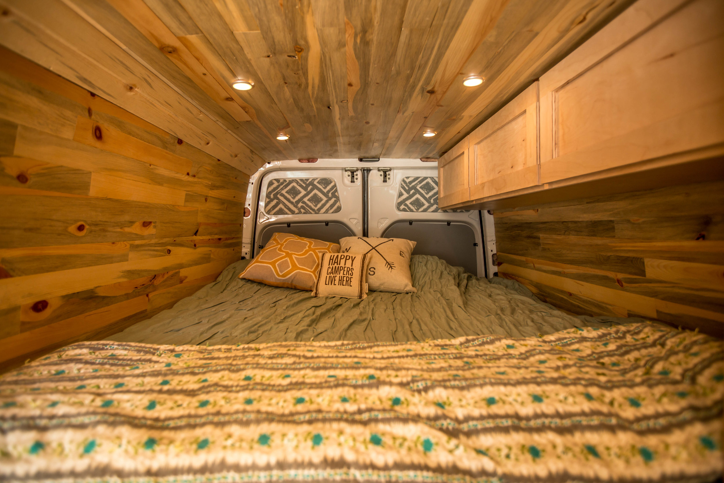 Stella is home to one of the largest beds we've packed inside of the Sprinter chassis.
