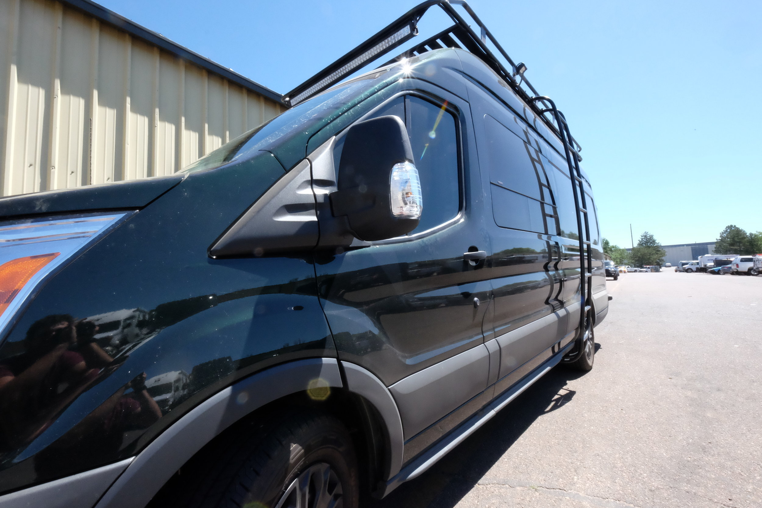 Dan's long wheel base/high roof transit was designed with long term travel and live-in capability in mind. Not only does it act the part, but with plenty of Aluminess goodies installed it looks tough doing it.