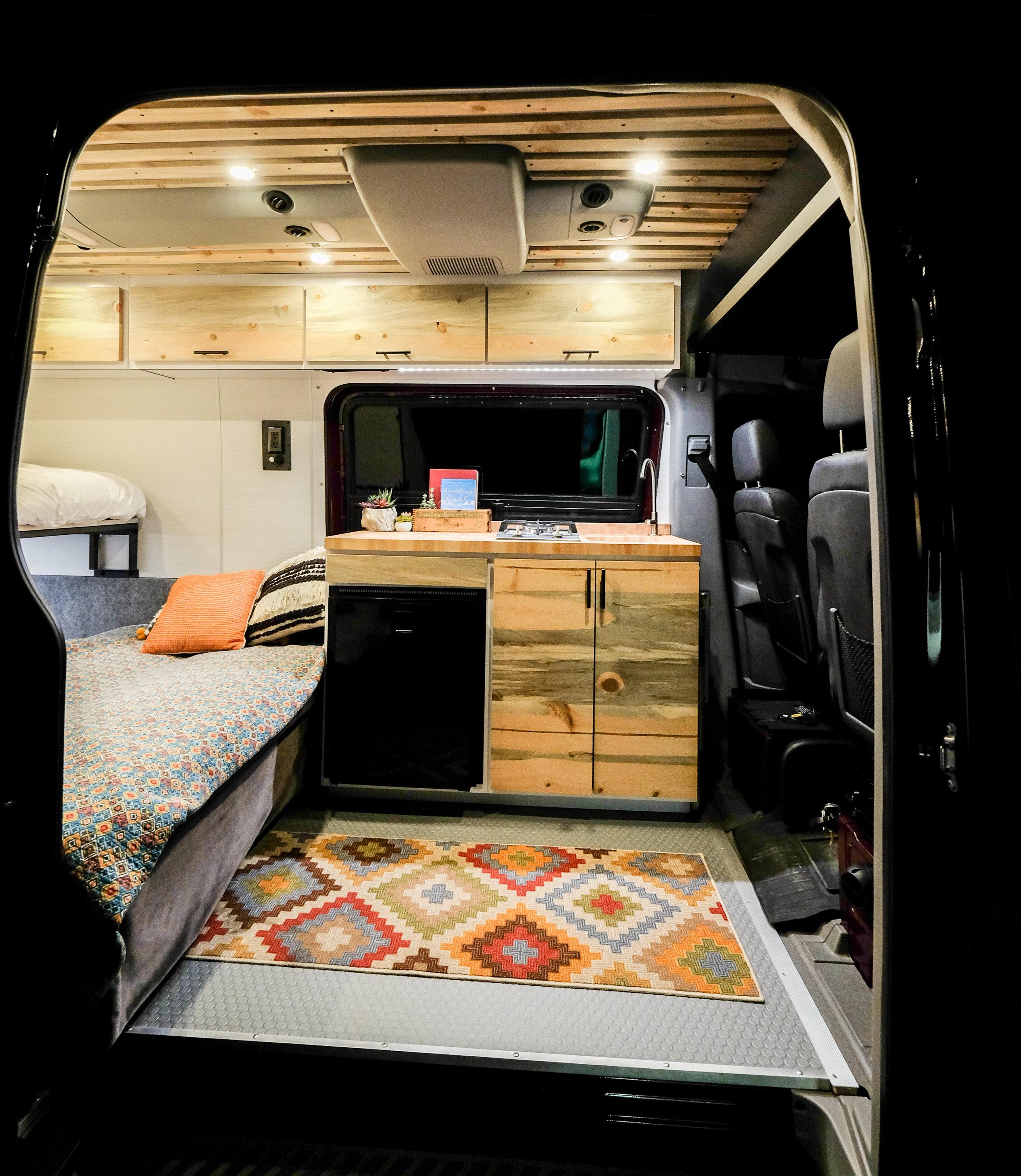 Vanlife Customs: Sprinter kitchenette and folding bench