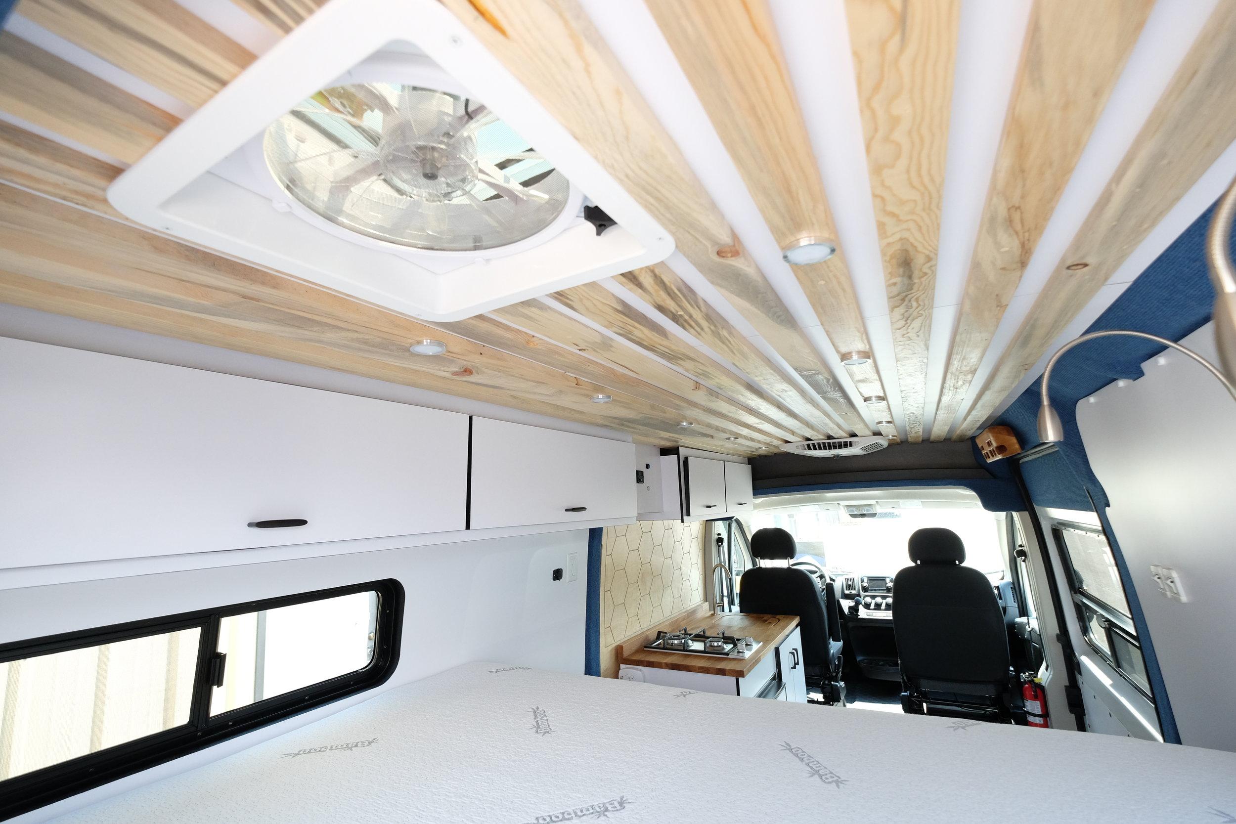 "Vanlife Customs: 159"" Dodge Promaster Custom Van Conversion Fan"