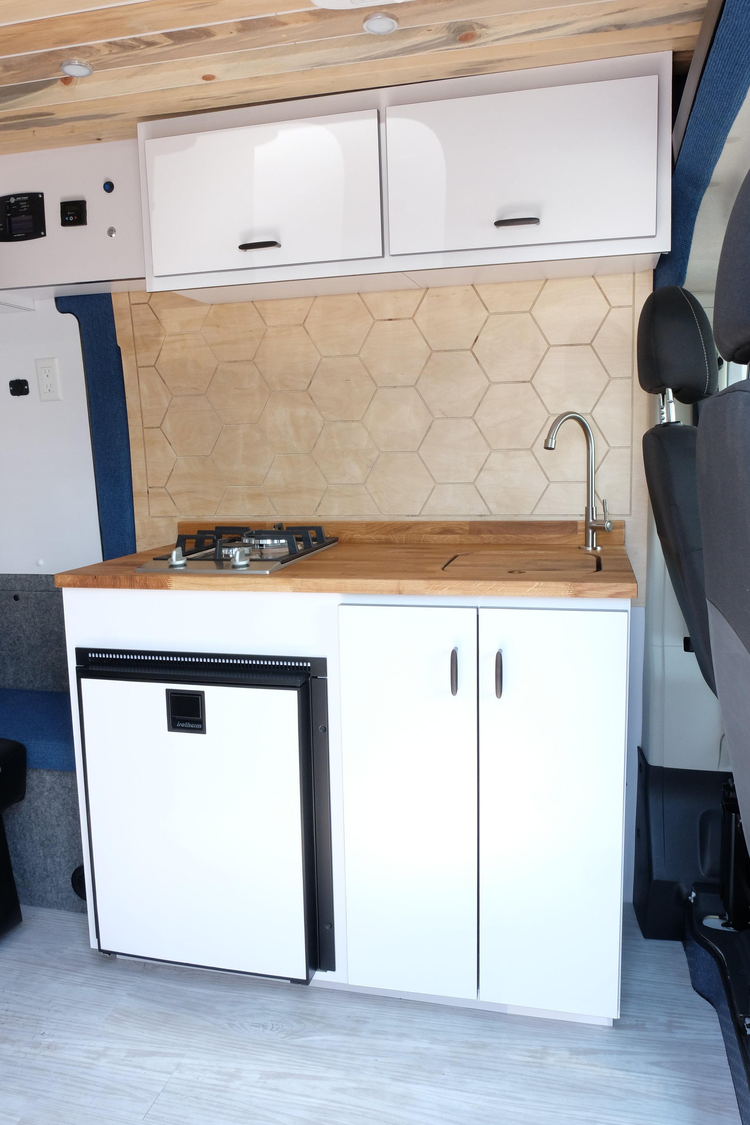 "Vanlife Customs: 159"" Dodge Promaster Custom Van Conversion Kitchen"