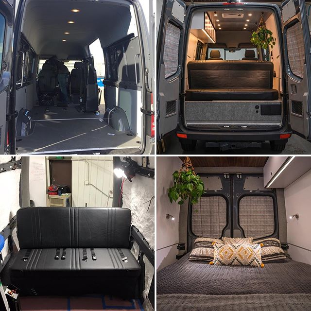"Anne and Jake came to us in search of a sleek and modern daily driver that could double as a weekend adventure rig for their new family. We might be partial, but this Sprinter sure cleaned up well… ⠀ ⠀ ft: Hugo the 144"" 4x4 Freightliner Sprinter⠀ ⠀ Insulation: 3M Thinsulate⠀ Walls: White Formica⠀ Floor: Silver Mist Pergo⠀ Ceiling: Walnut Veneer ⠀ ⠀ ""The Van is AMAZING!!!!!!!! Thank you guys for your work because it is exactly what we hoped it would be and more. Jake and I are so excited to start going on adventures in it with Ronin."" - Anne M., Portland, OR⠀ ⠀ ⠀ 🖤🚐🖤⠀ ⠀ ⠀ ⠀ ⠀ ⠀ ⠀ ⠀ ⠀ #vanlifecustoms #vanlife #sprinterconversion #vanlifedistrict #vanlifeadventure #vanlifecamper  #vanlifesociety #projectvanlife #vanlifeculture #vanlifers #vanbuild #vanlifeideas #vanlifemagazine  #vanliving #campervanlife #vanlifemovement #vanbuild #vanlifeexplorers #camperlifestyle #vanlifediaries #vancrush #sprinterlife #advanture #sprintervan #4x4van #adaptivesports #adaptedvehicle #wheelchairvan"