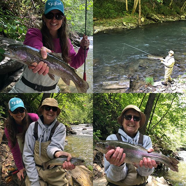 Great day on the water with super fun mother daughter first timers Keisha and Marsha #flyfishing #828isgreat #catchandrelease #nantahalanationalforest #rainbowtrout #browntrout #brooktrout #wncflyfishing
